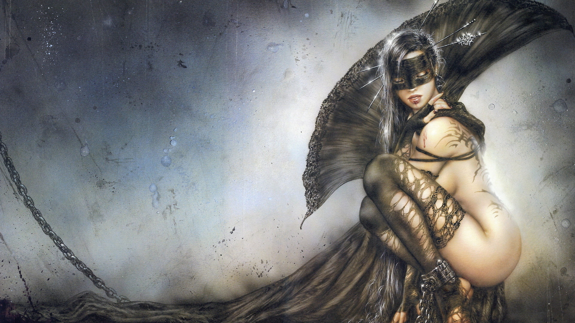 Res: 1920x1080, The Needles Of Joy, Kindly, Chain, Girl, Mask, Luis Royo,