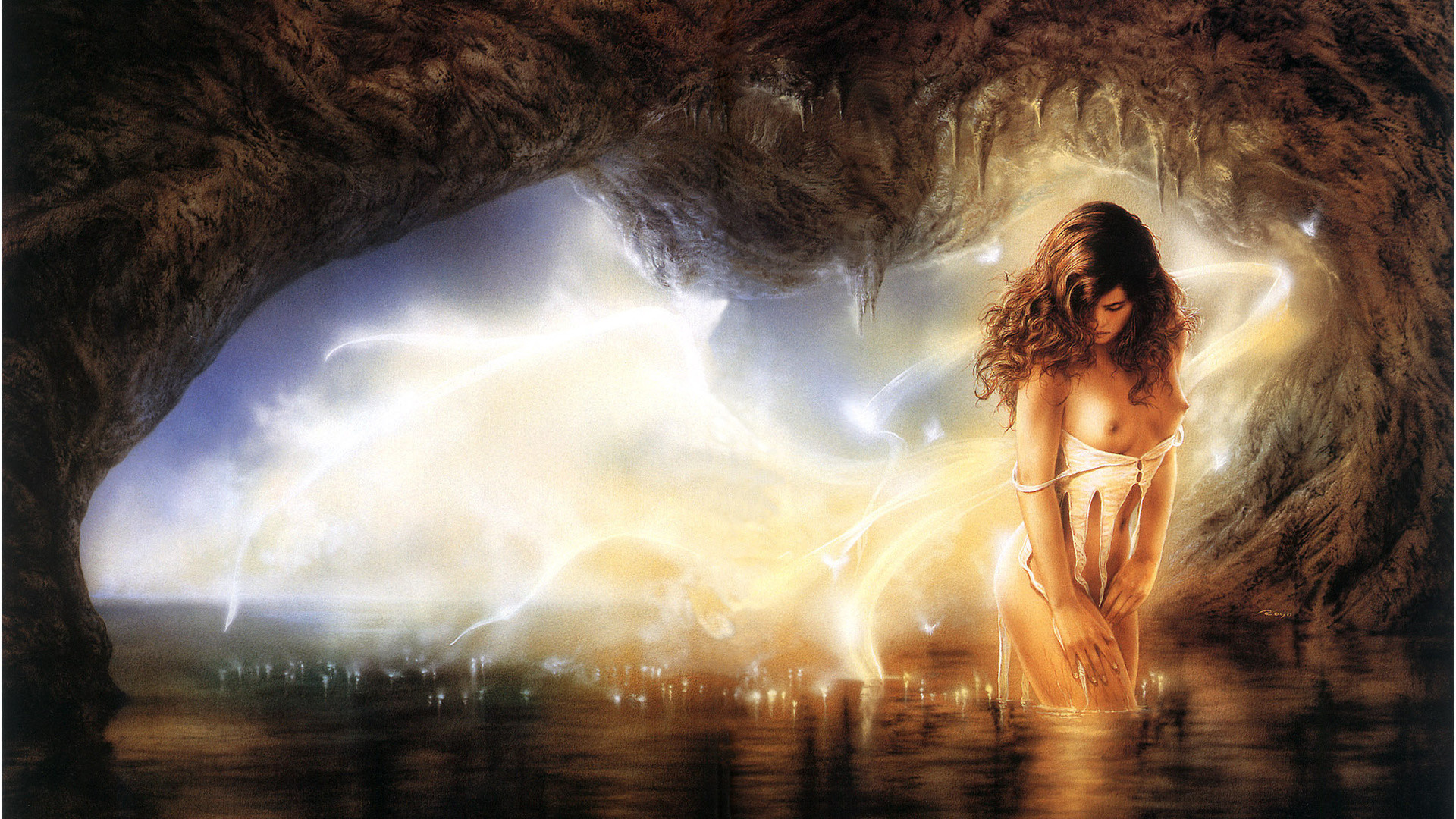 Res: 1920x1080, Thread, Luis Royo, Girl, Fireflies, Threads Of Desire, Cave, Cave