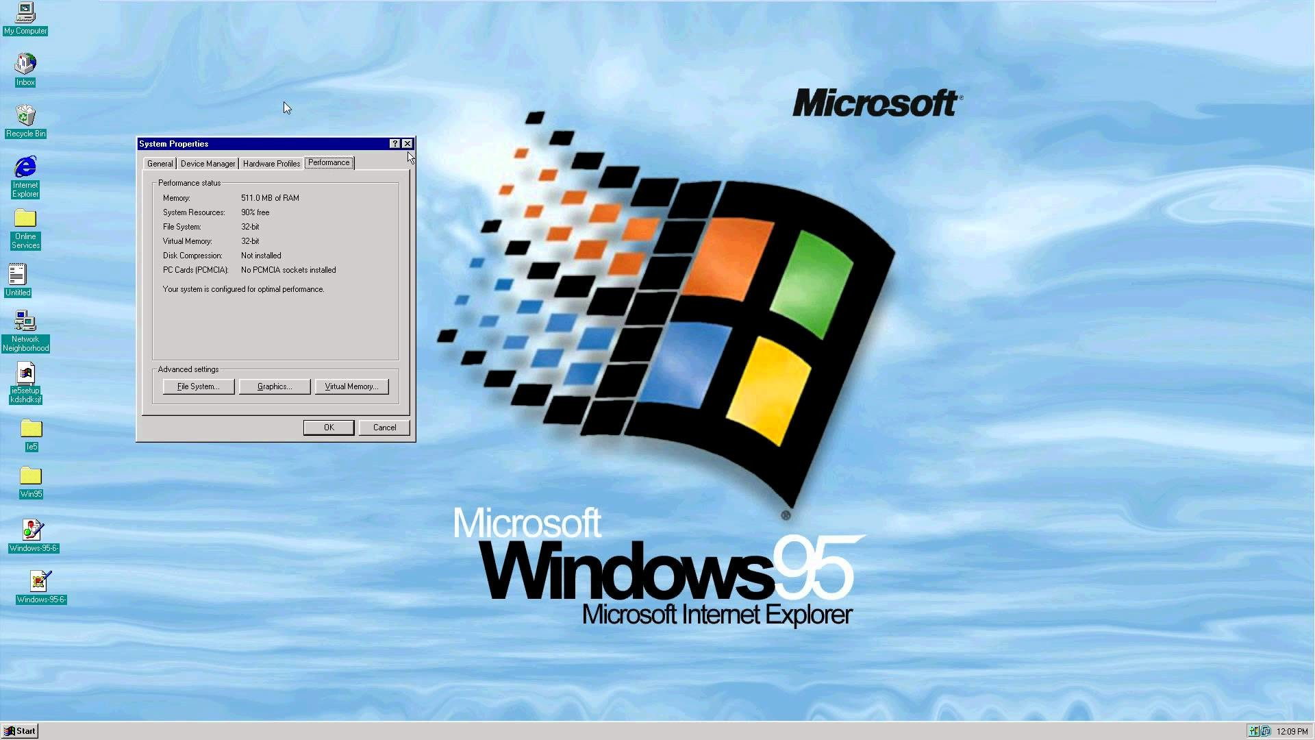 Res: 1920x1080, Windows 95 on newer computer