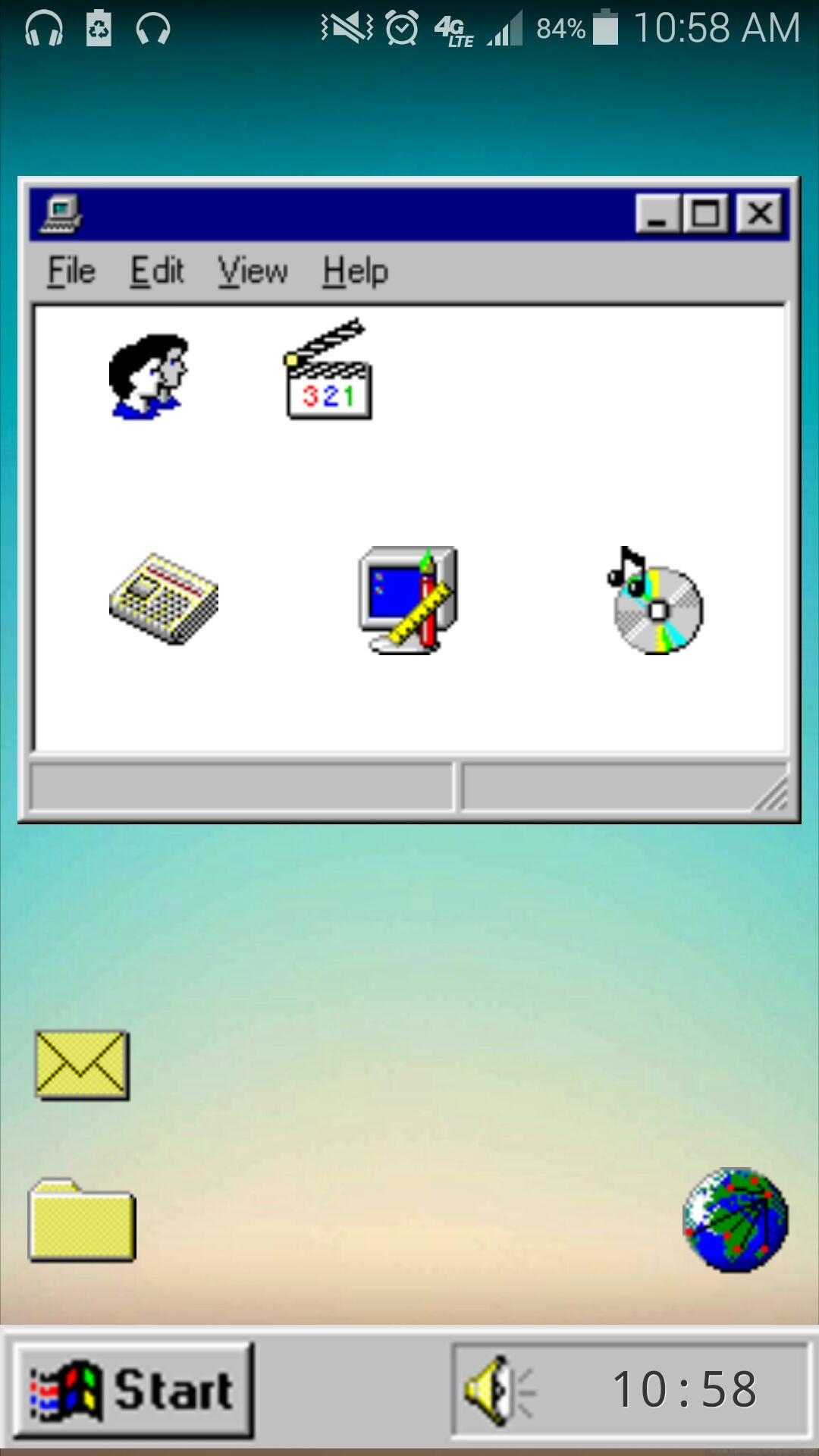 Res: 1080x1920, [Functional] My version of the Retro Windows 95 theme I've been using for a  while ...