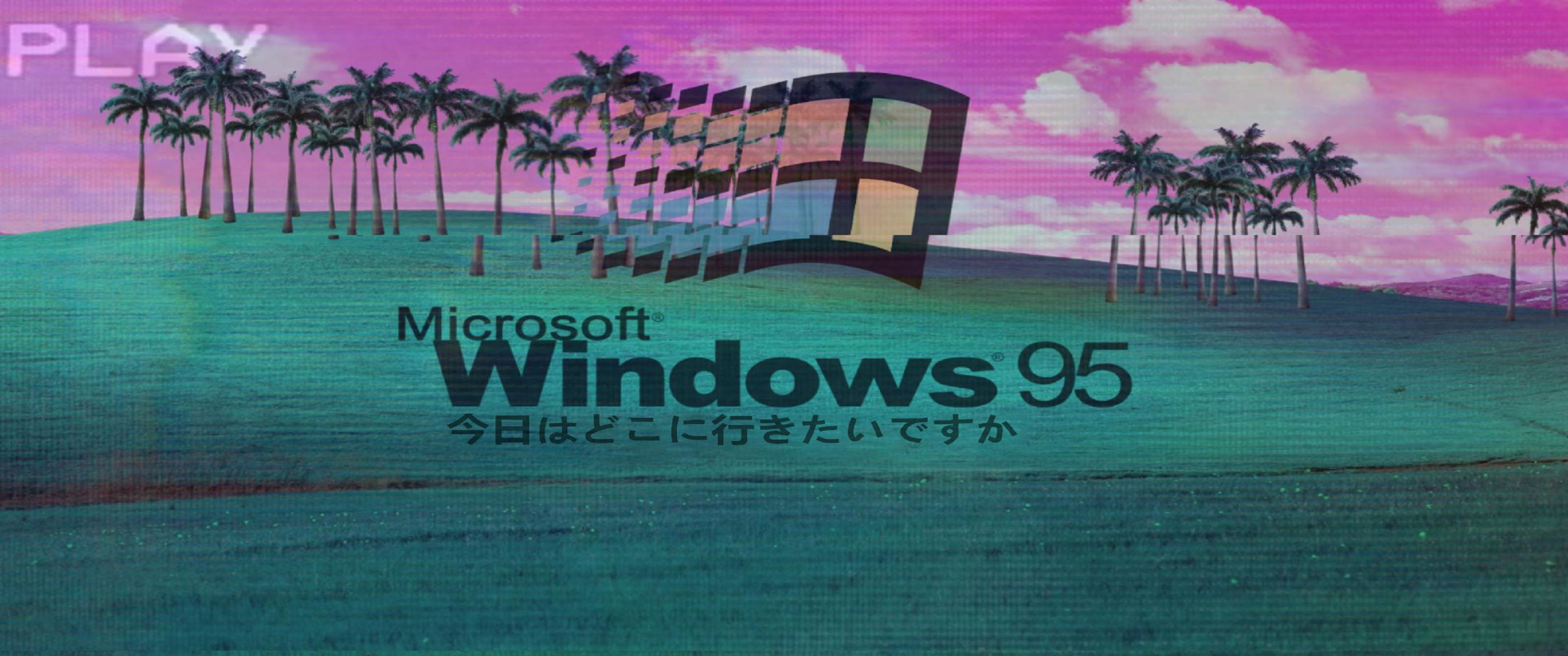 Res: 3440x1440, vaporwave windows theme