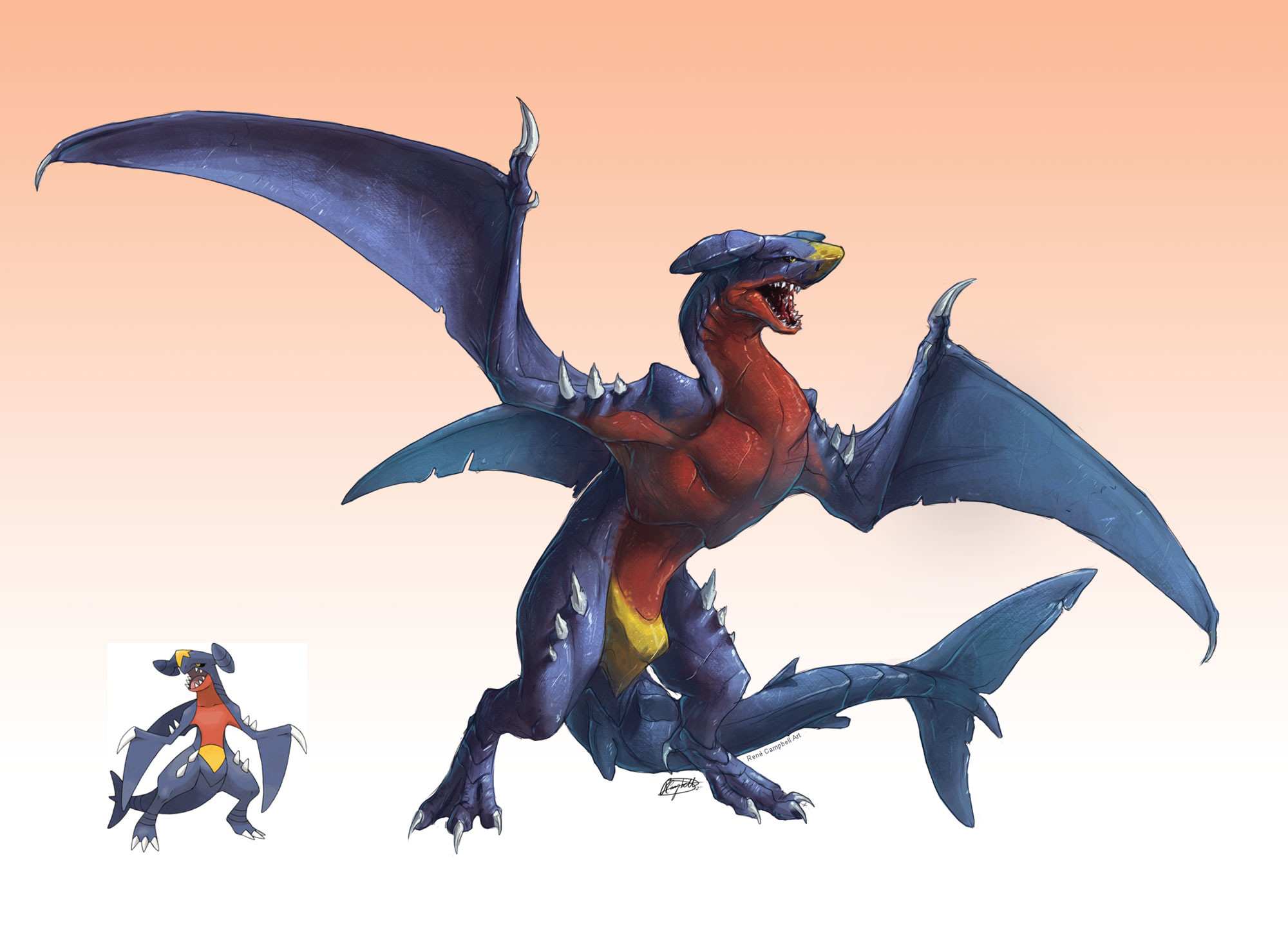 Res: 2000x1440, Realistic Pokemon: Garchomp by ReneCampbellArt Realistic Pokemon: Garchomp  by ReneCampbellArt