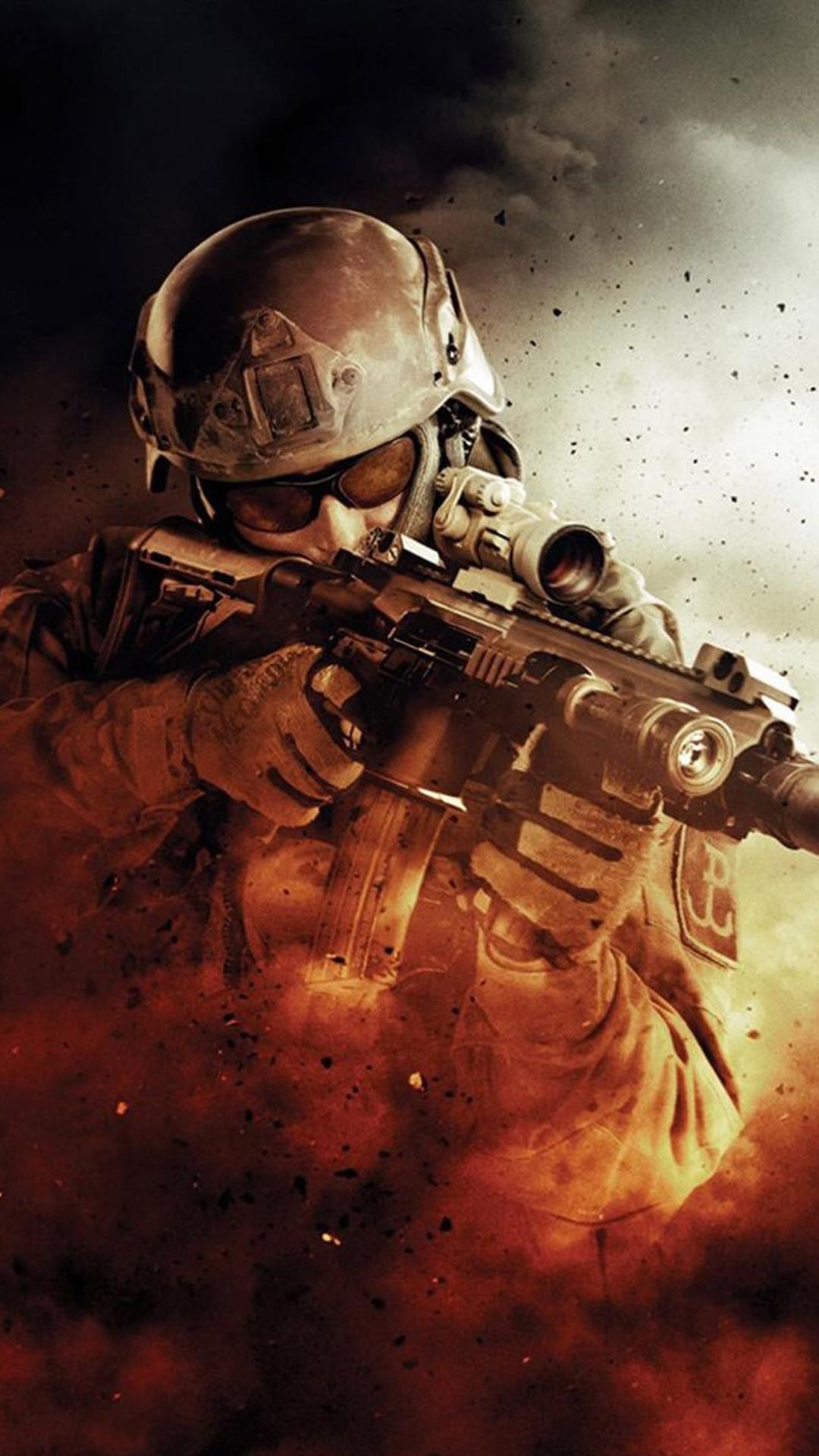 Res: 1080x1920, War Fire Fight Soldier Gun Weapon #iPhone #6 #plus #wallpaper