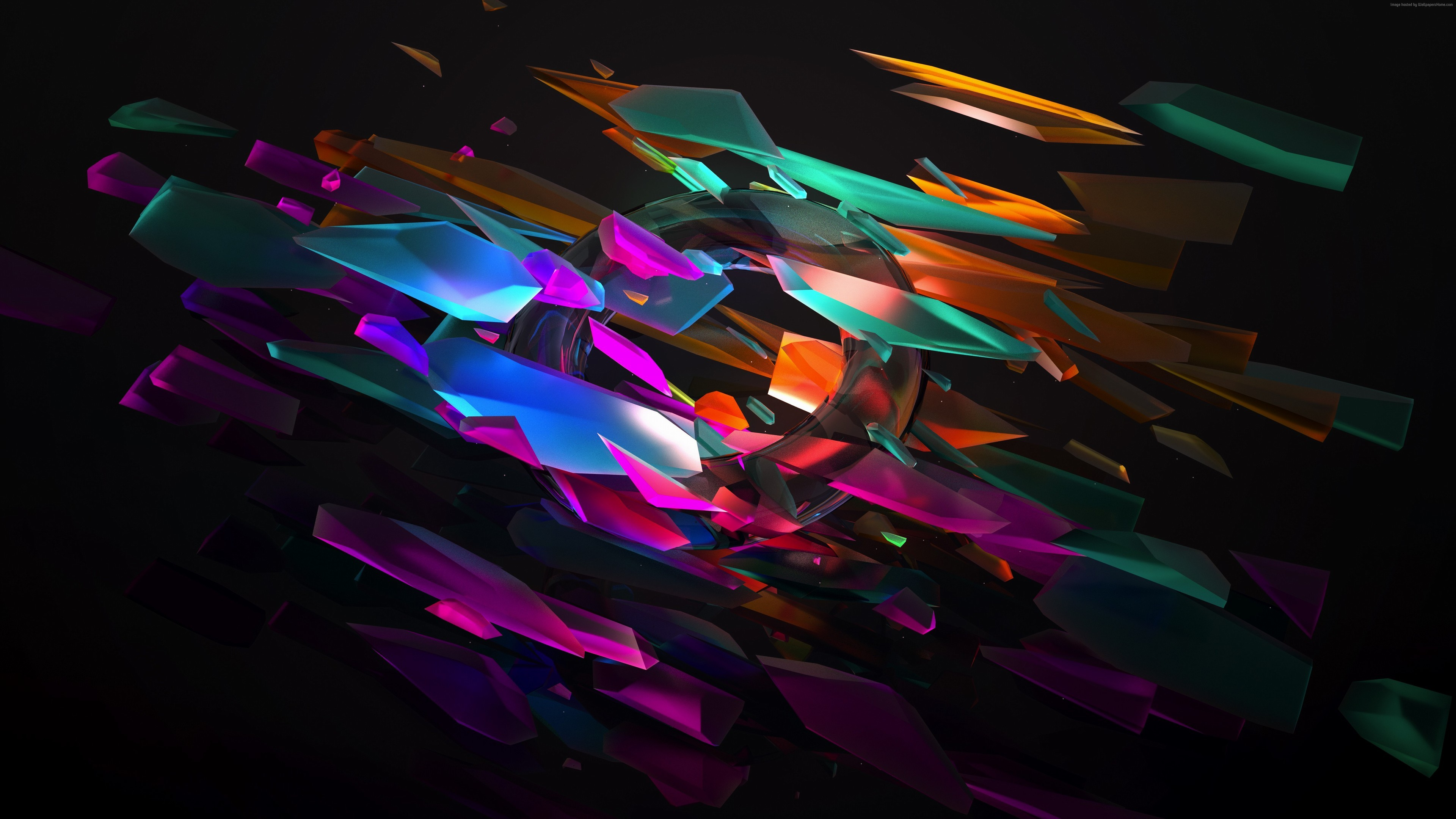 Res: 3840x2160, 3D Glass Pieces Wallpaper