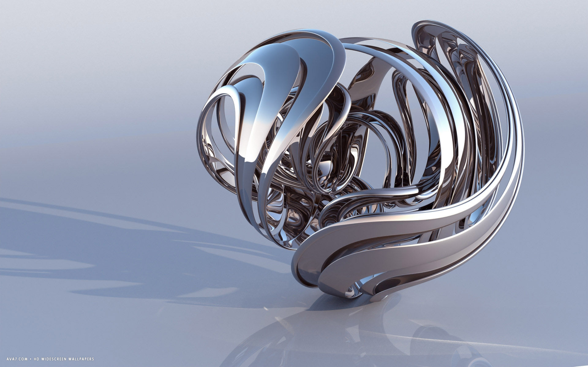 Res: 1920x1200, 3d abstract metal figure reflective shape hd widescreen wallpaper