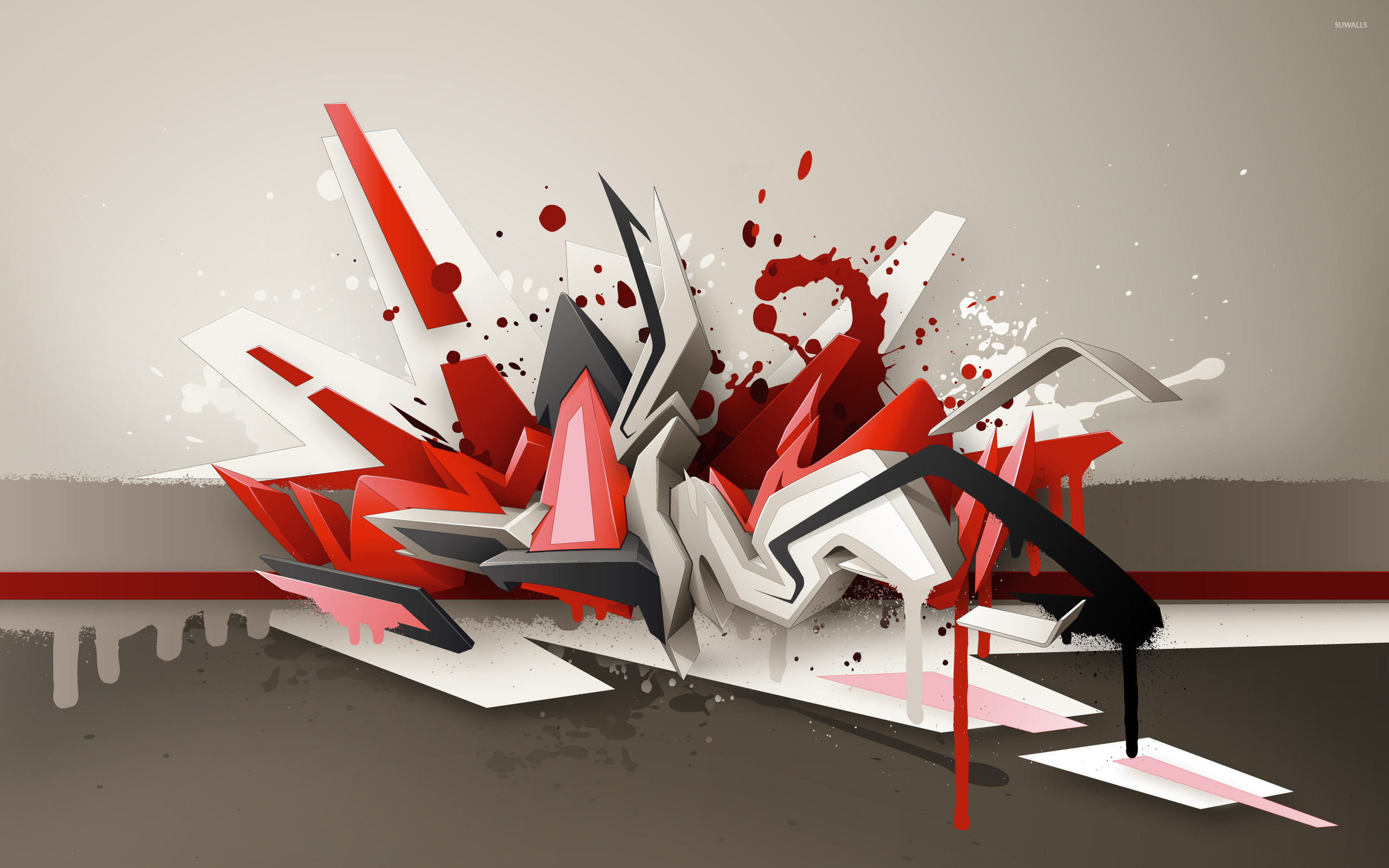 Res: 2560x1600, Paint splash on different shapes wallpaper