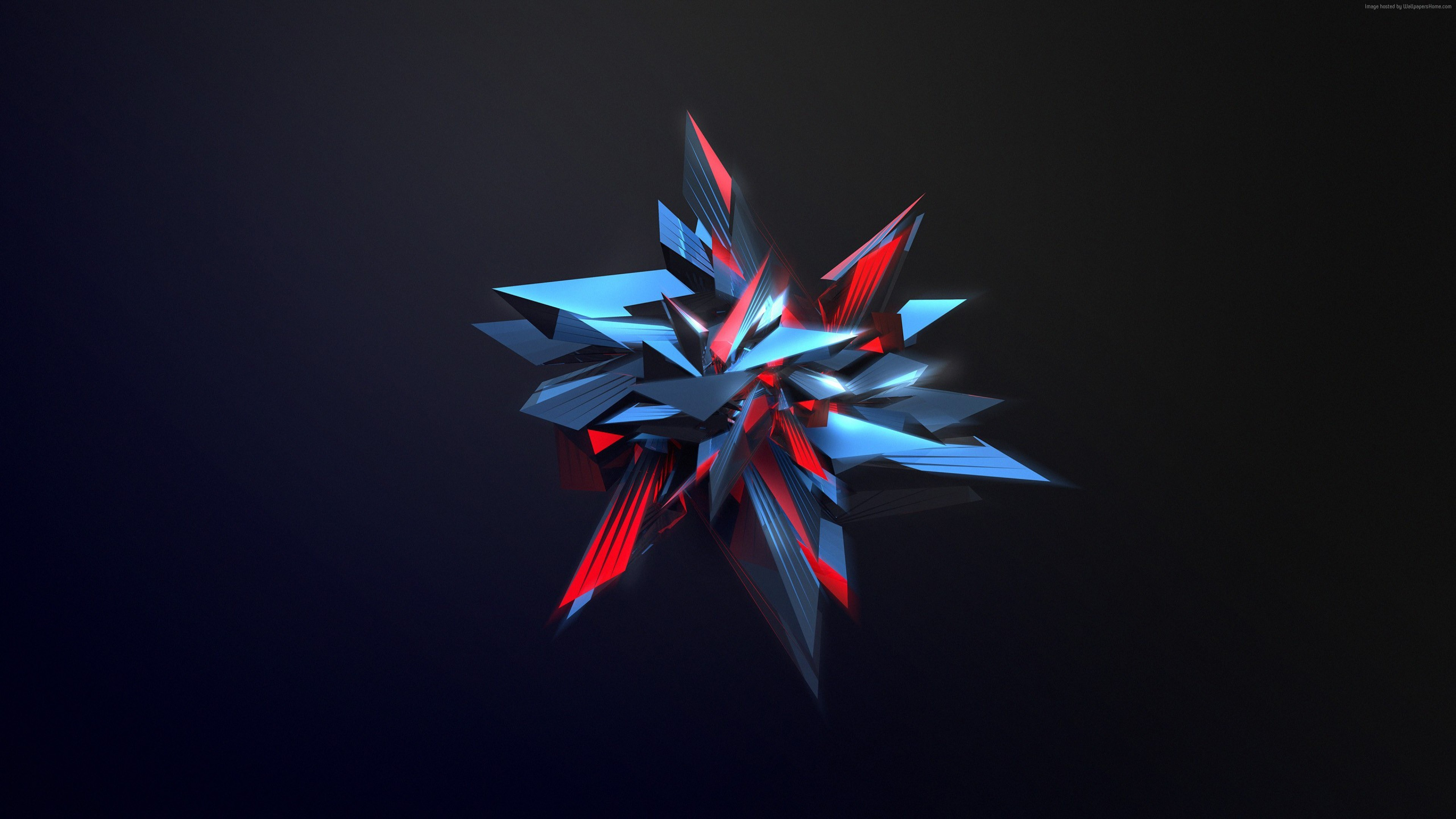 Res: 3840x2160, Wallpaper 3D, abstract, shapes, glass, 4k, Abstract