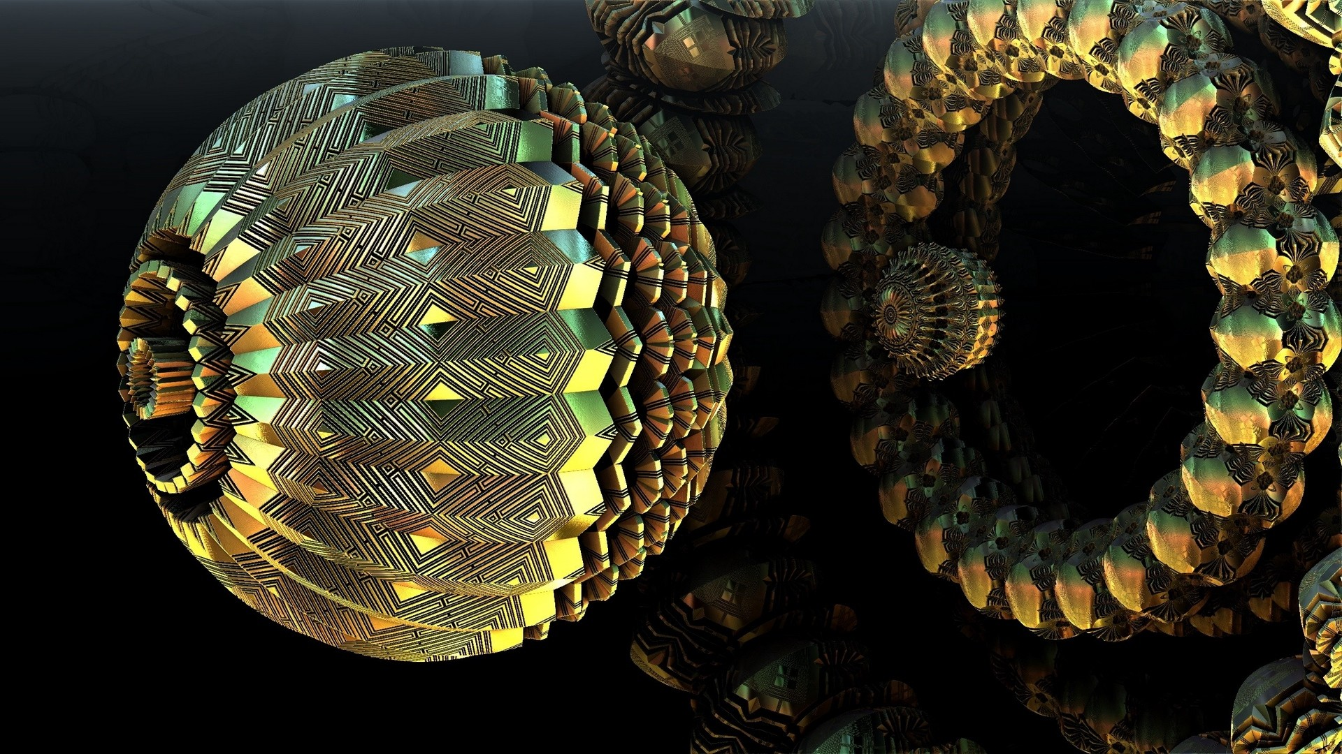 Res: 1920x1080,  Wallpaper ball, 3d, shape, dip