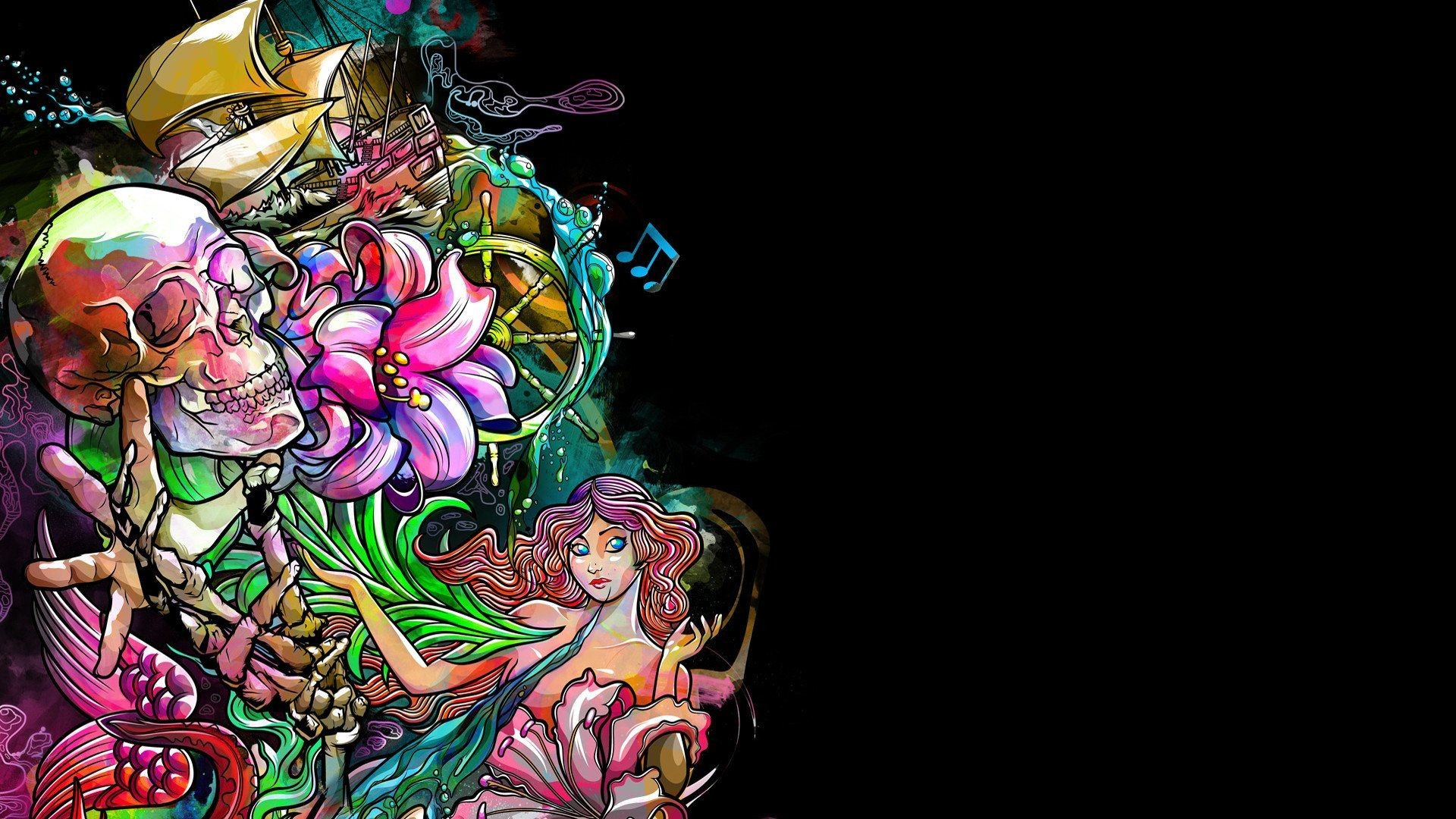 Res: 1920x1080, Dark Skull Fantasy Psychedelic Tattoo Dark Skull Fantasy Psychedelic Tattoo  is an HD desktop wallpaper posted in our free image collection of awesome  ...