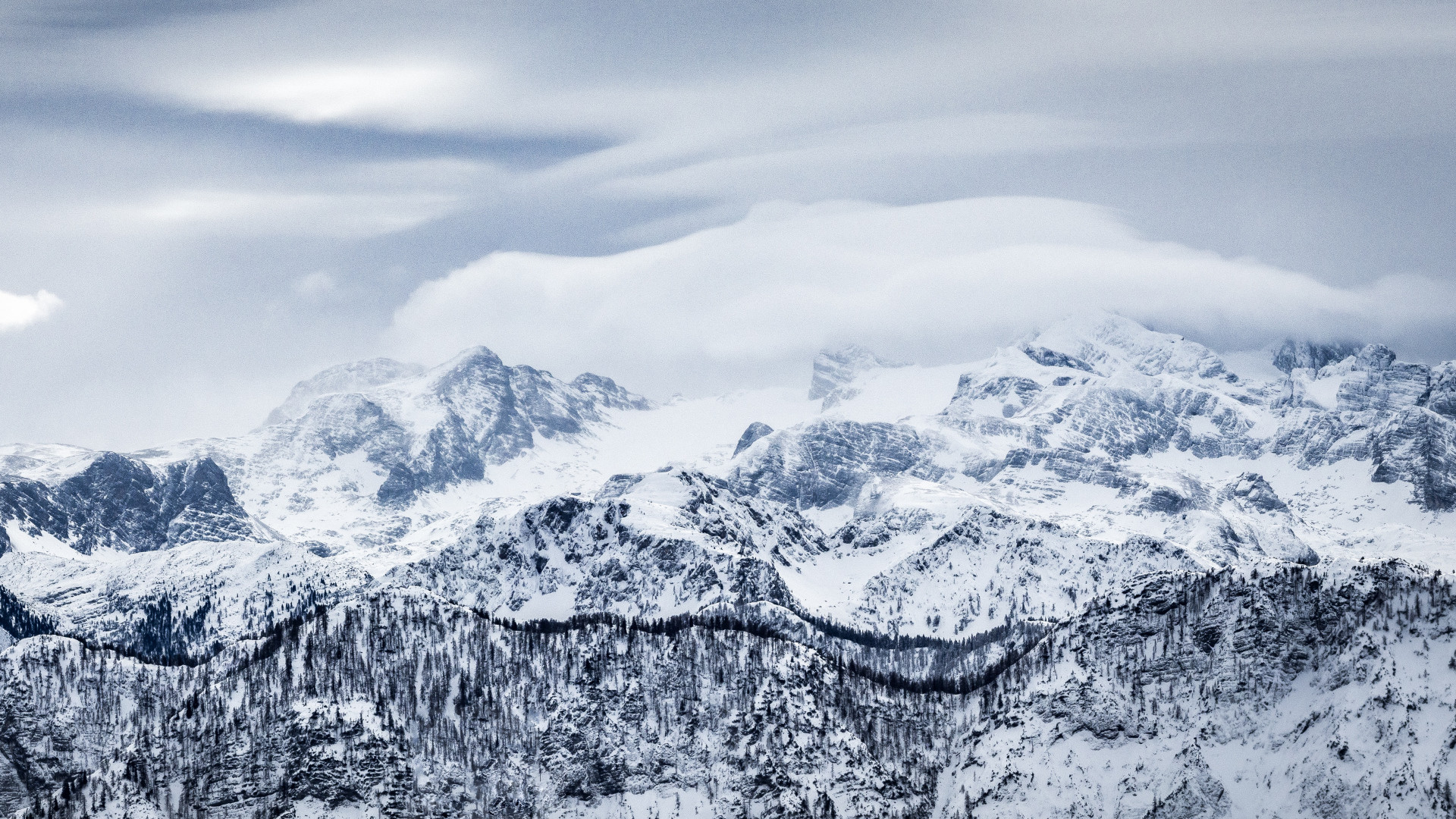 Res: 1920x1080, Amazing Nature Mountain Grey Clouds Snowy Peak