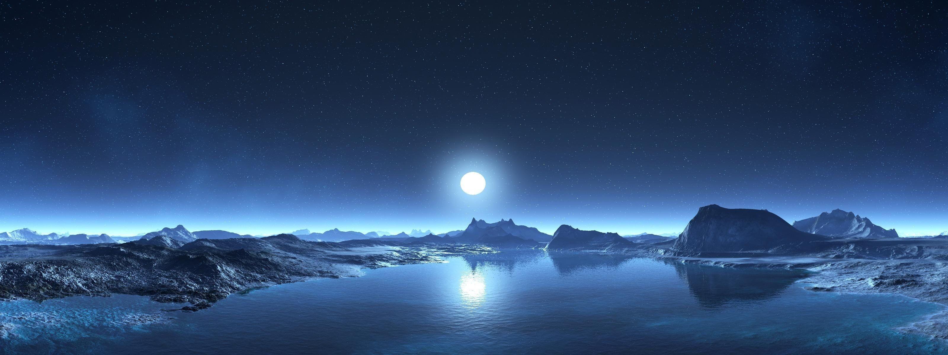Res: 3200x1200, moon mountain water sky star beach HD wallpaper