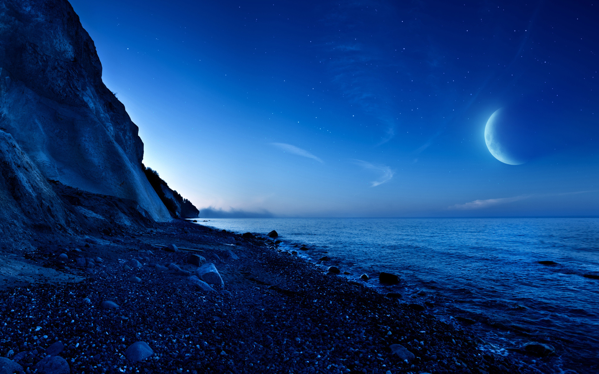 Res: 1920x1200, Nightfall Mountain Sea Moon Wallpaper