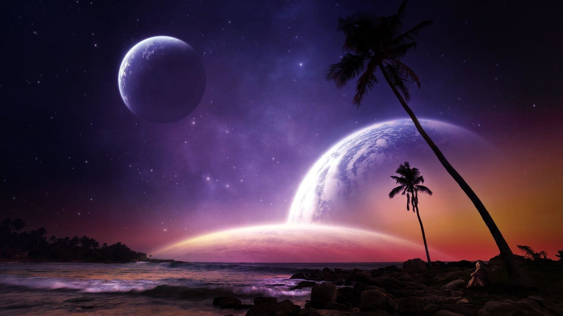 Res: 1920x1080, Moon rising on the beach