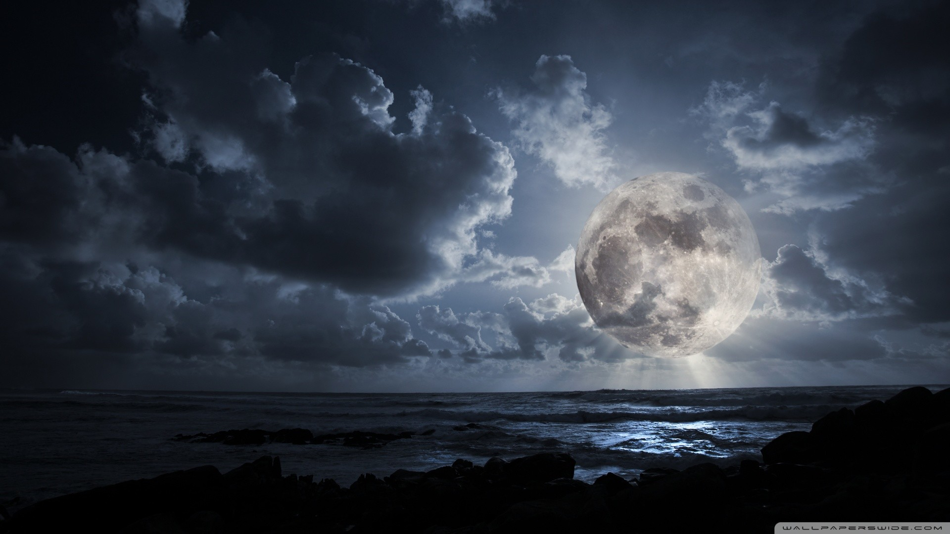 Res: 1920x1080, Free Subscribe. Super Moon On The Beach ...