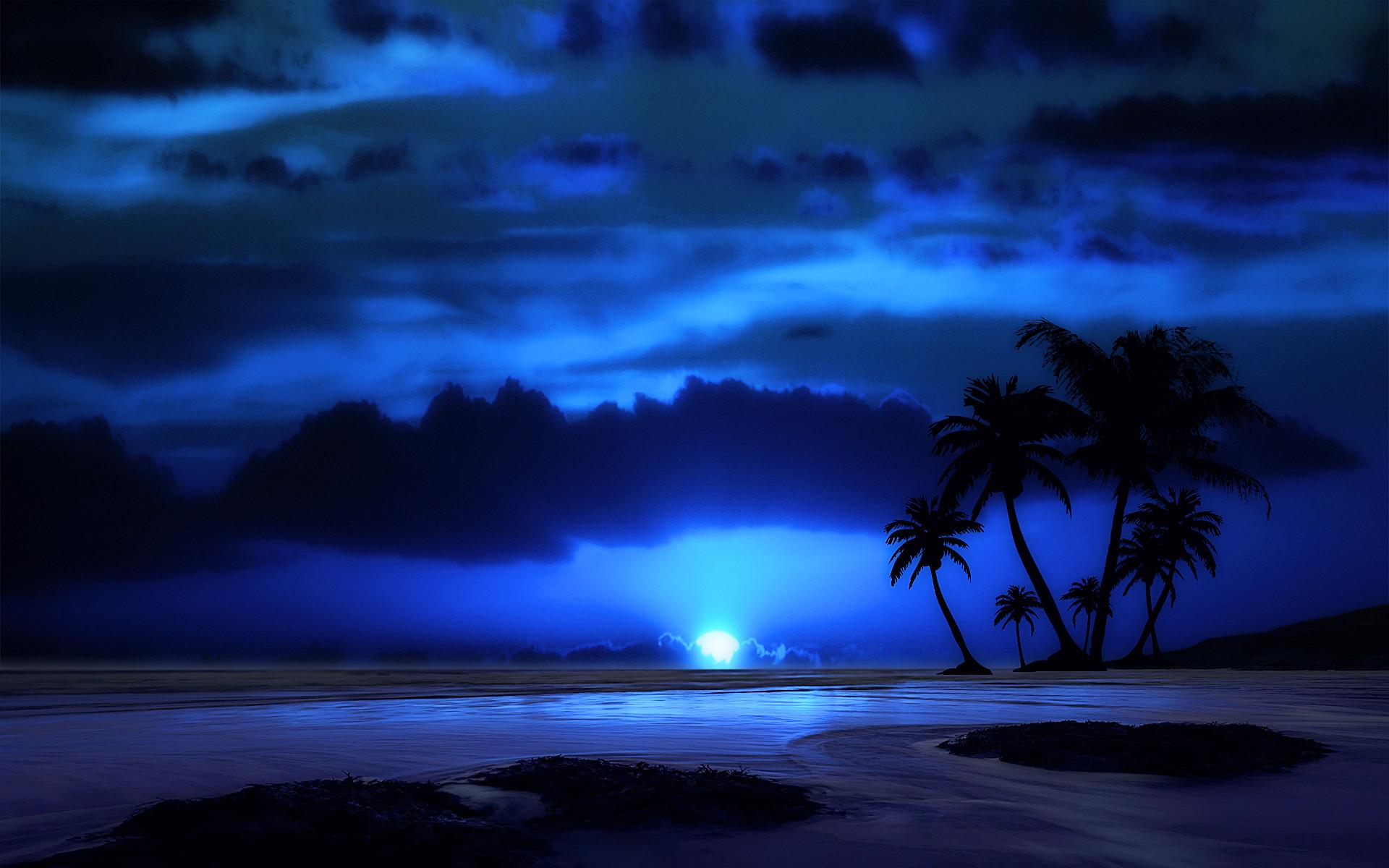Res: 1920x1200, Artistic - Beach Artistic Tropical Palm Tree Night Ocean Sea Blue Moon  Cloud Silhouette Horizon Wallpaper