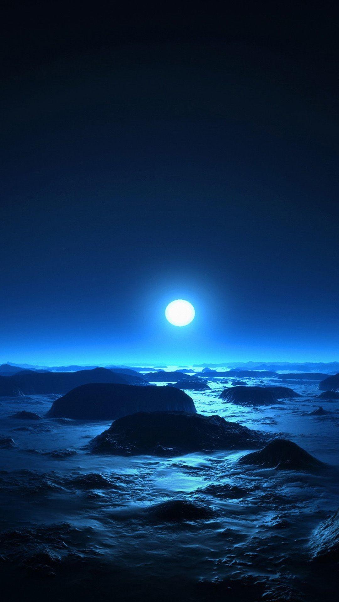 Res: 1080x1920, Alien Moon Over Ocean Rock Beach Cold Moonlight #iPhone #7 #wallpaper