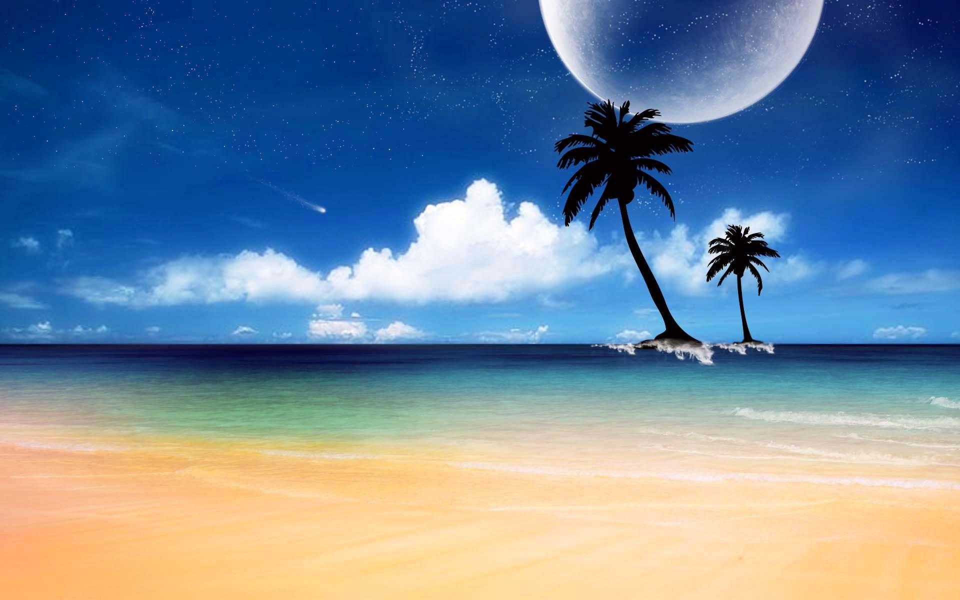 Res: 1920x1200, strange moon in sunny beach land