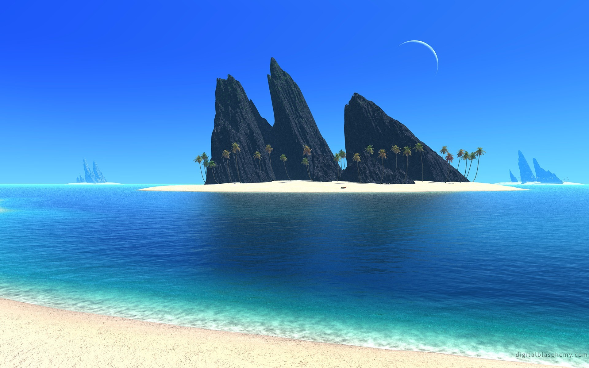 Res: 1920x1200, Moon over the Beach HD Wallpaper