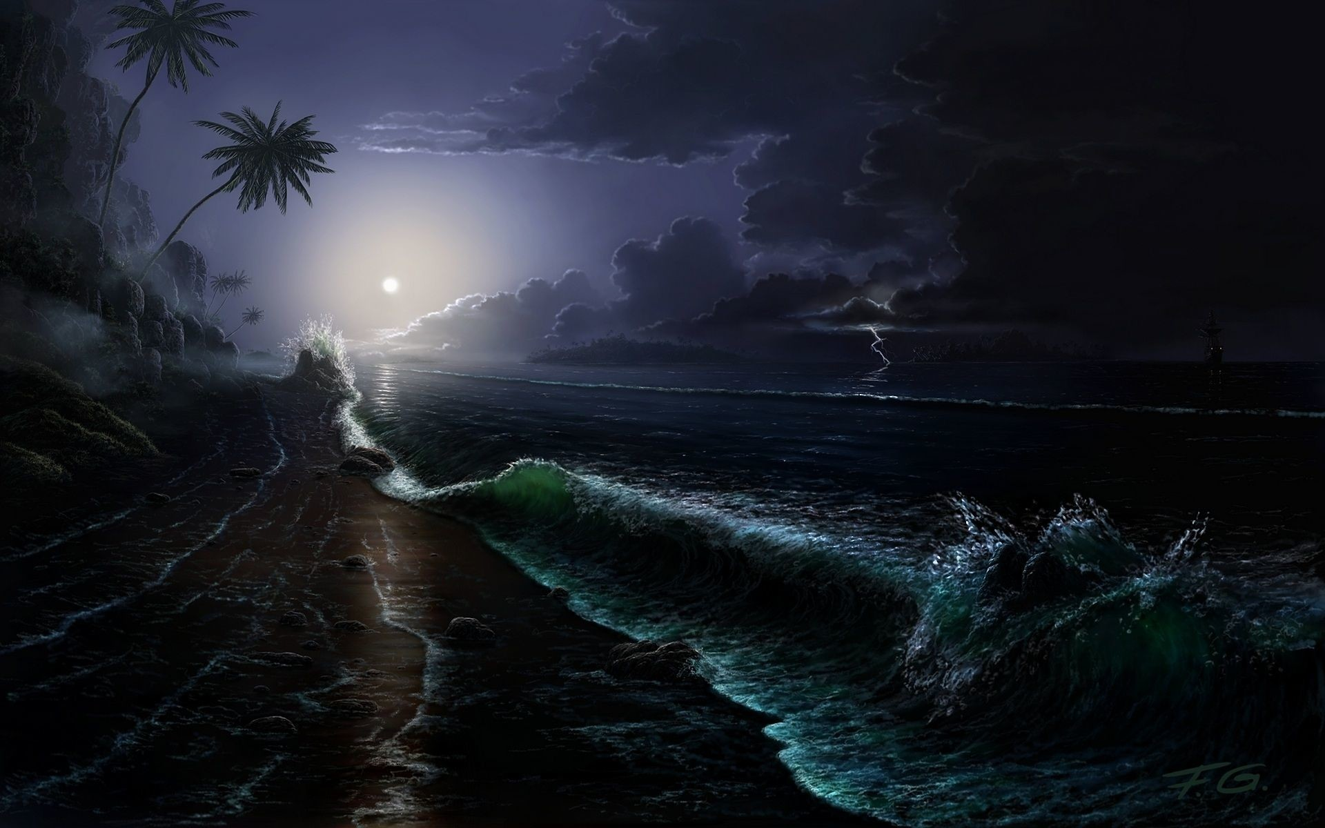 Res: 1920x1200, Free Download Beach At Night Background.