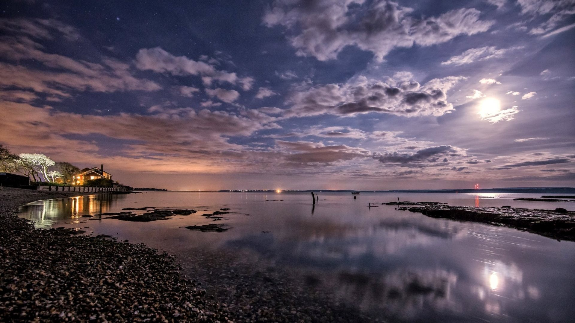 Res: 1920x1080, Beaches - Night Clouds Kingdom Moon Sky United Nature Coast Scenery  Lymington Images for HD 16