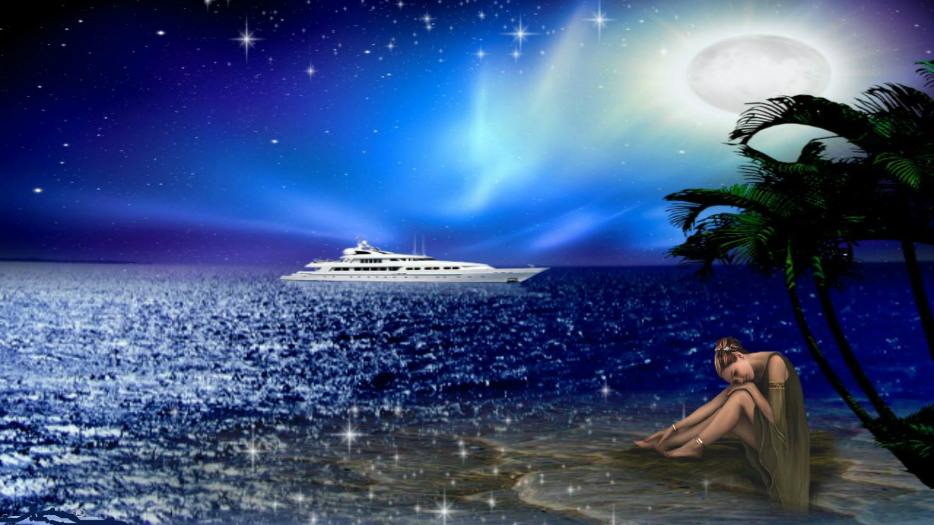Res: 1920x1080, Sadness Beach Fantasy Loneliness Night Ship Full Moon Wallpaper For Phone