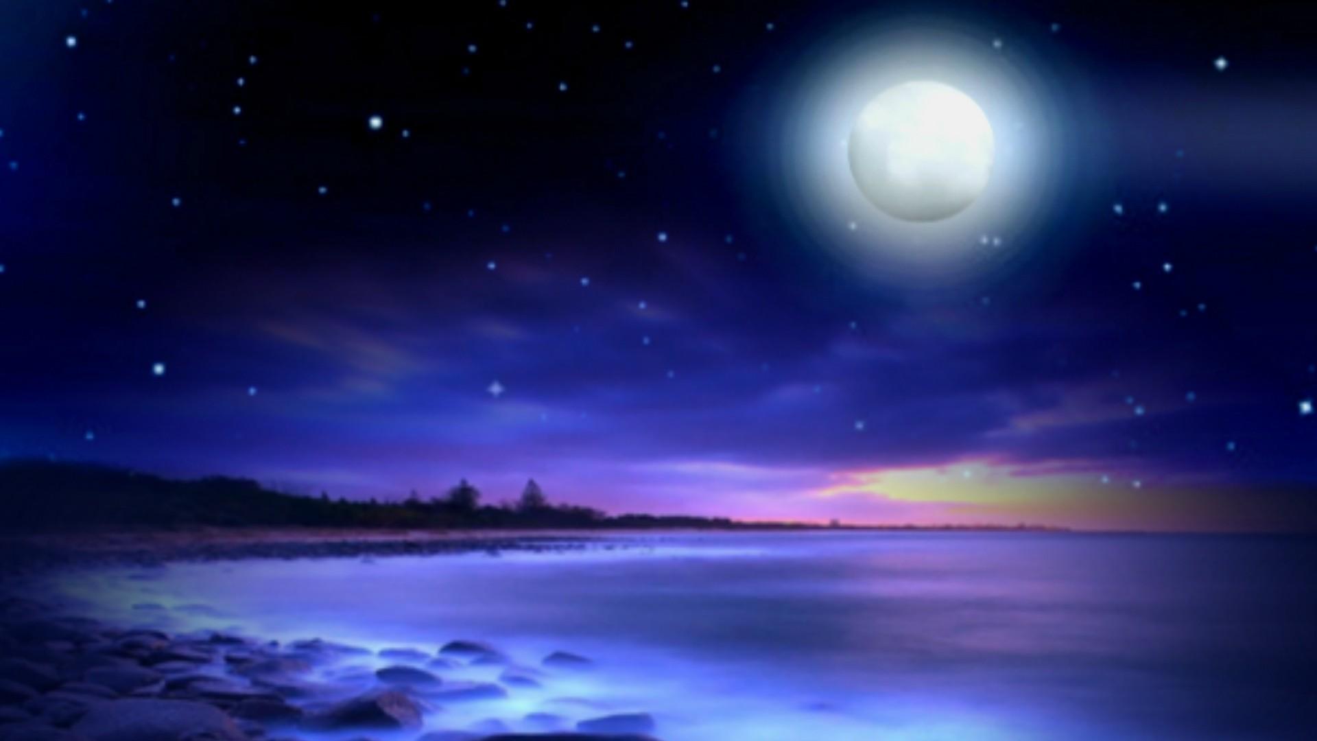 Res: 1920x1080, Magic Night Full Moon Romantic Beach Nature Landscape HD Pictures -