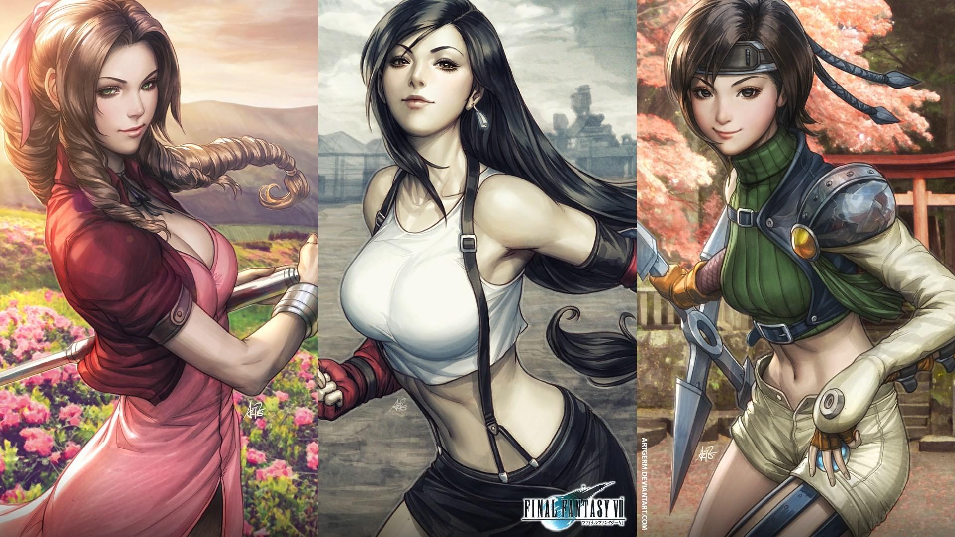 Res: 1920x1080, Widescreen resolutions Source · Aerith Gainsborough Art Artgerm Stanley Lau  Final Fantasy Tifa