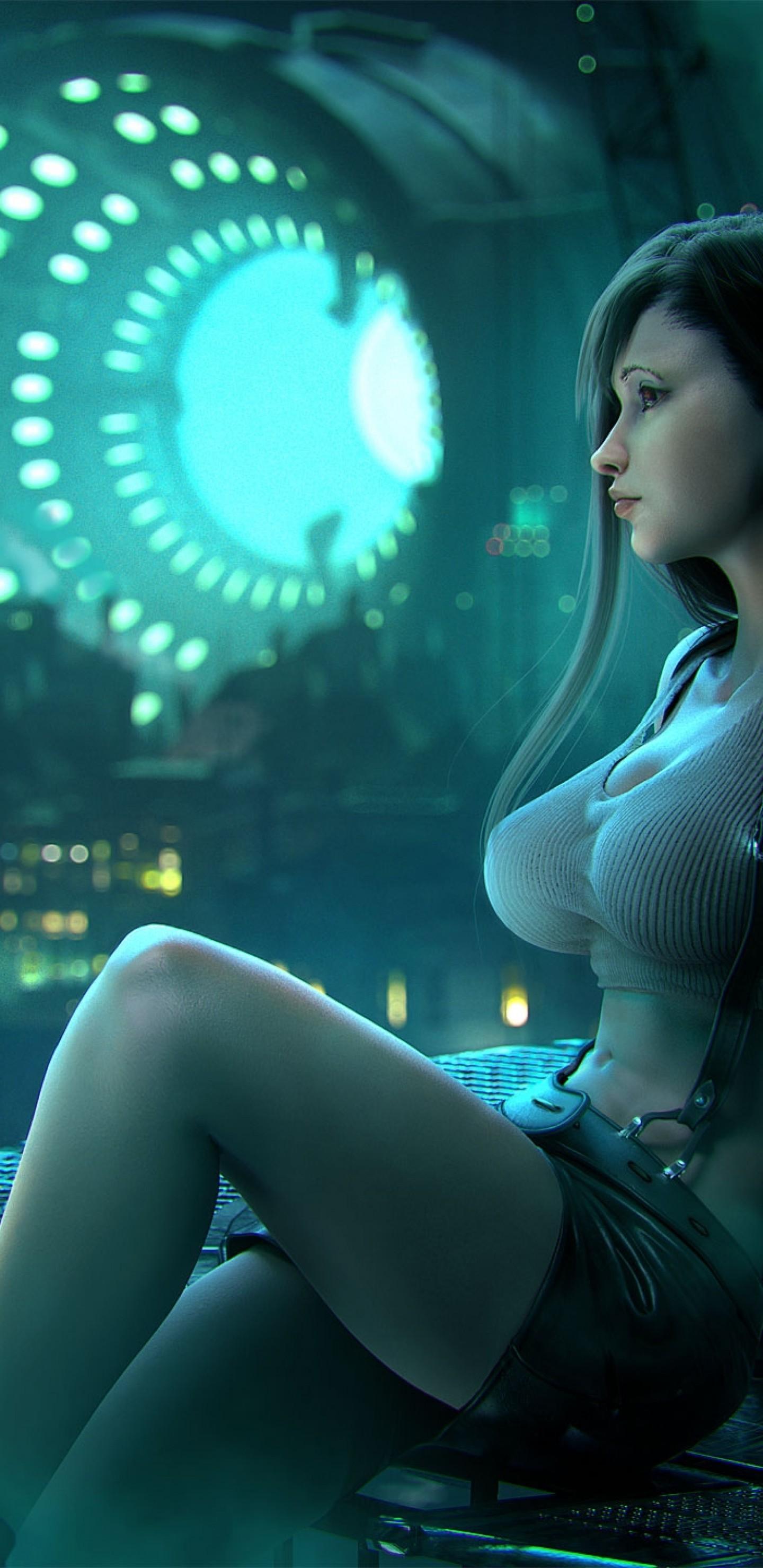 Res: 1440x2960, Final Fantasy Xiv, Tifa Lockhart, Sitting, Profile View