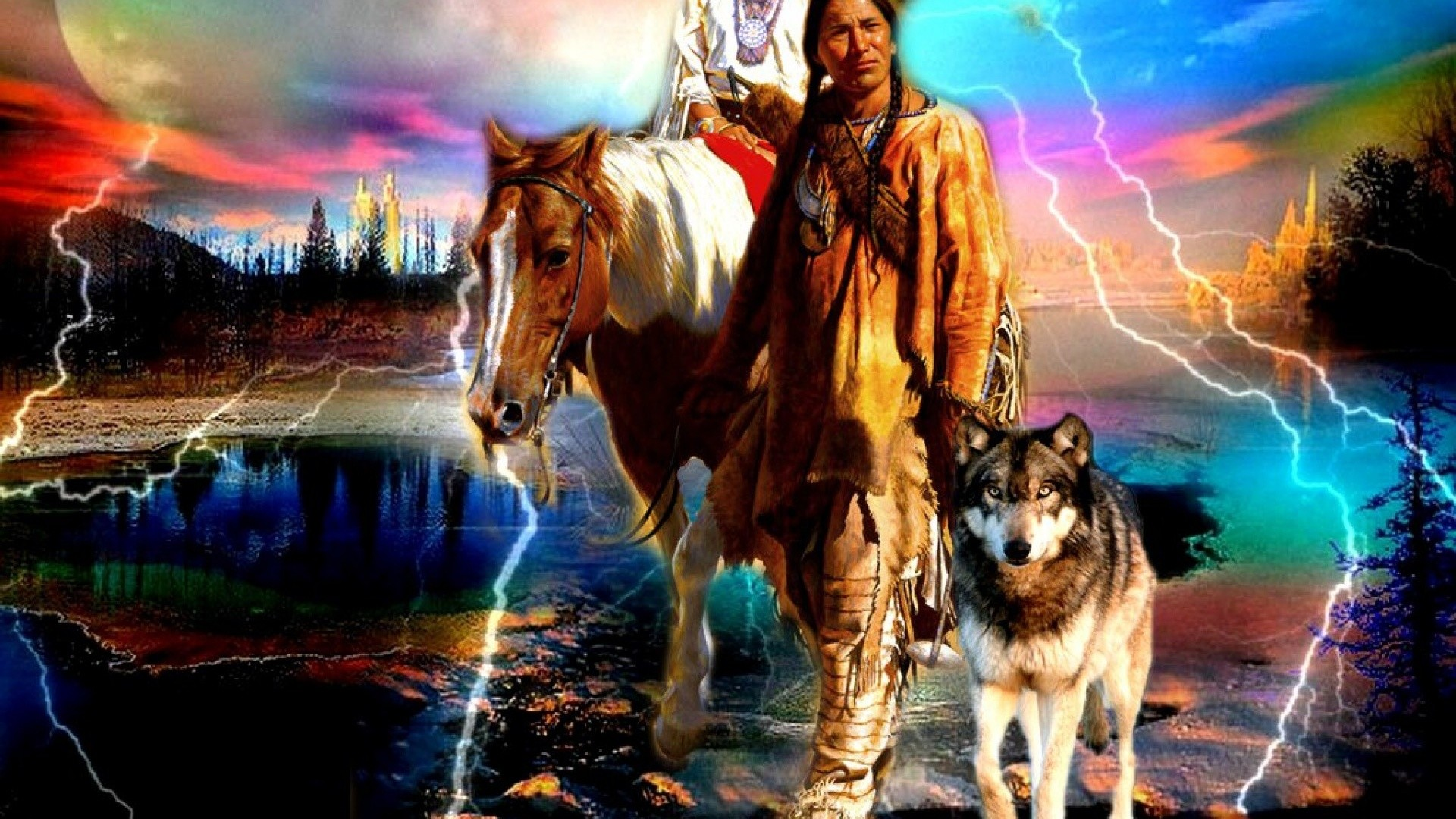 Res: 1920x1080, Native America, Indian, Horse, Wolf, Indian And Wolf
