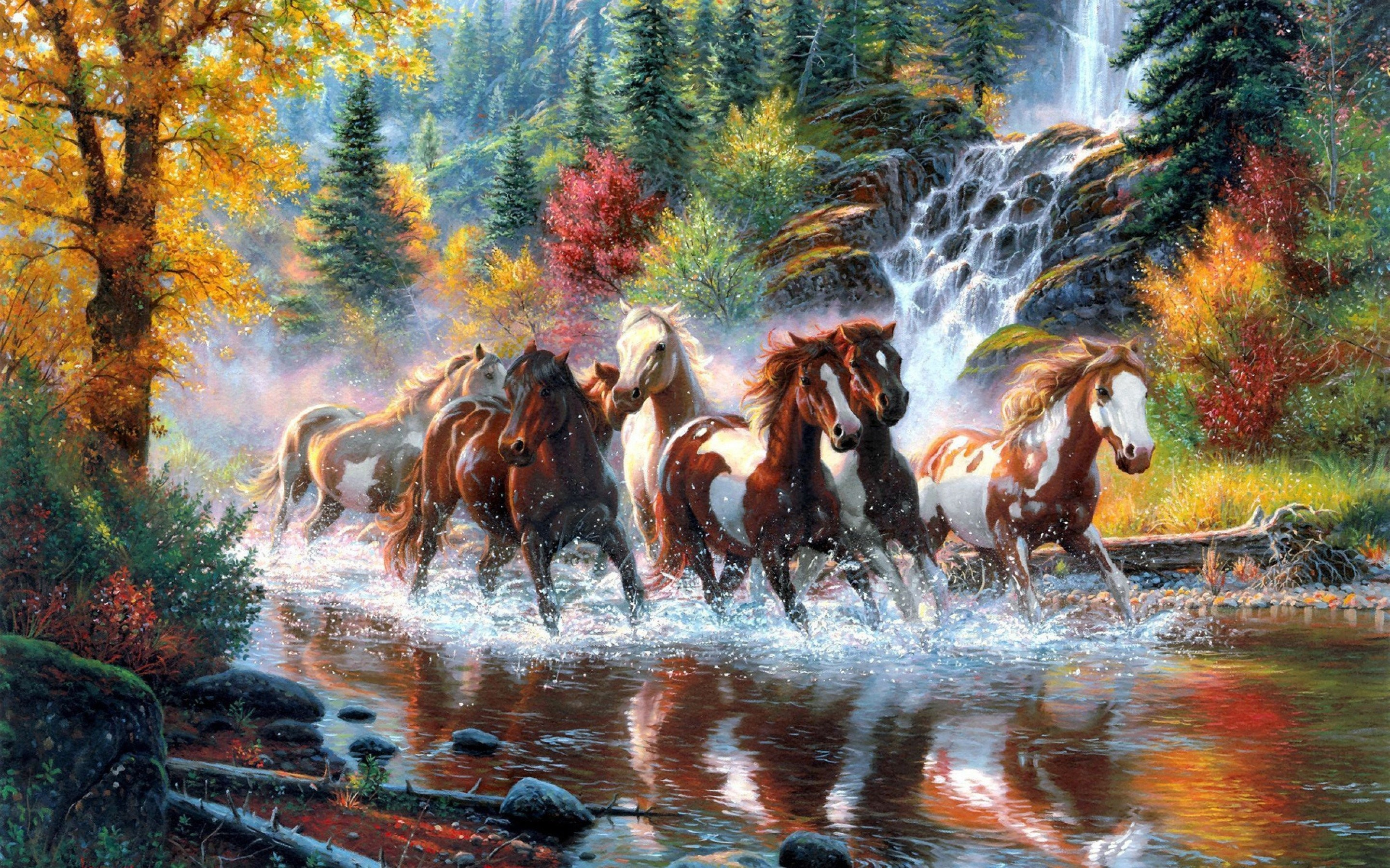 Res: 2880x1800, Landscape nature tree forest woods river horse artwork painting waterfall  autumn country wester native american indian wallpaper |  | 651614  | ...