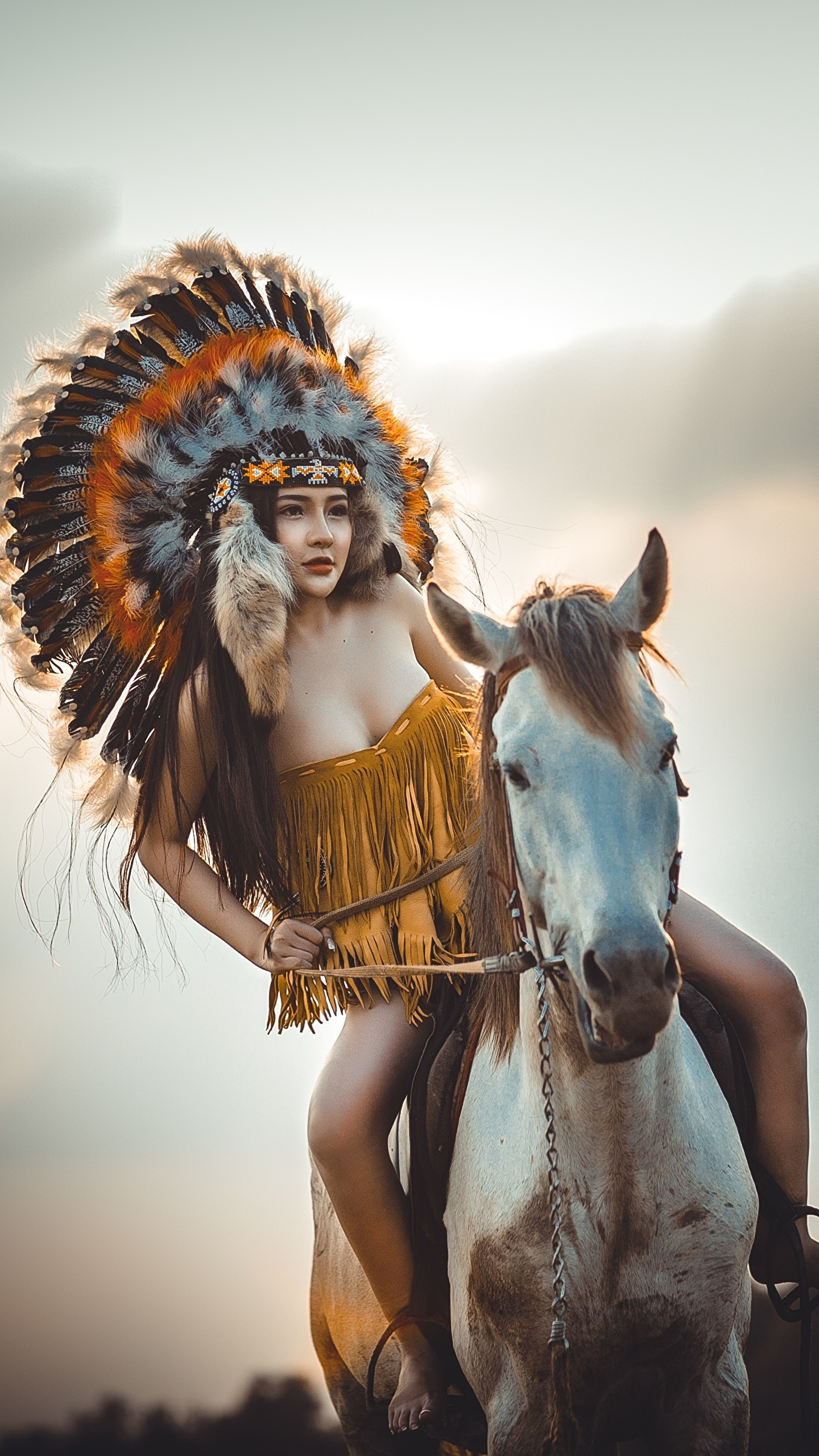 Res: 1440x2560, Wallpaper Horses Indians Girls Animals  Indigenous peoples