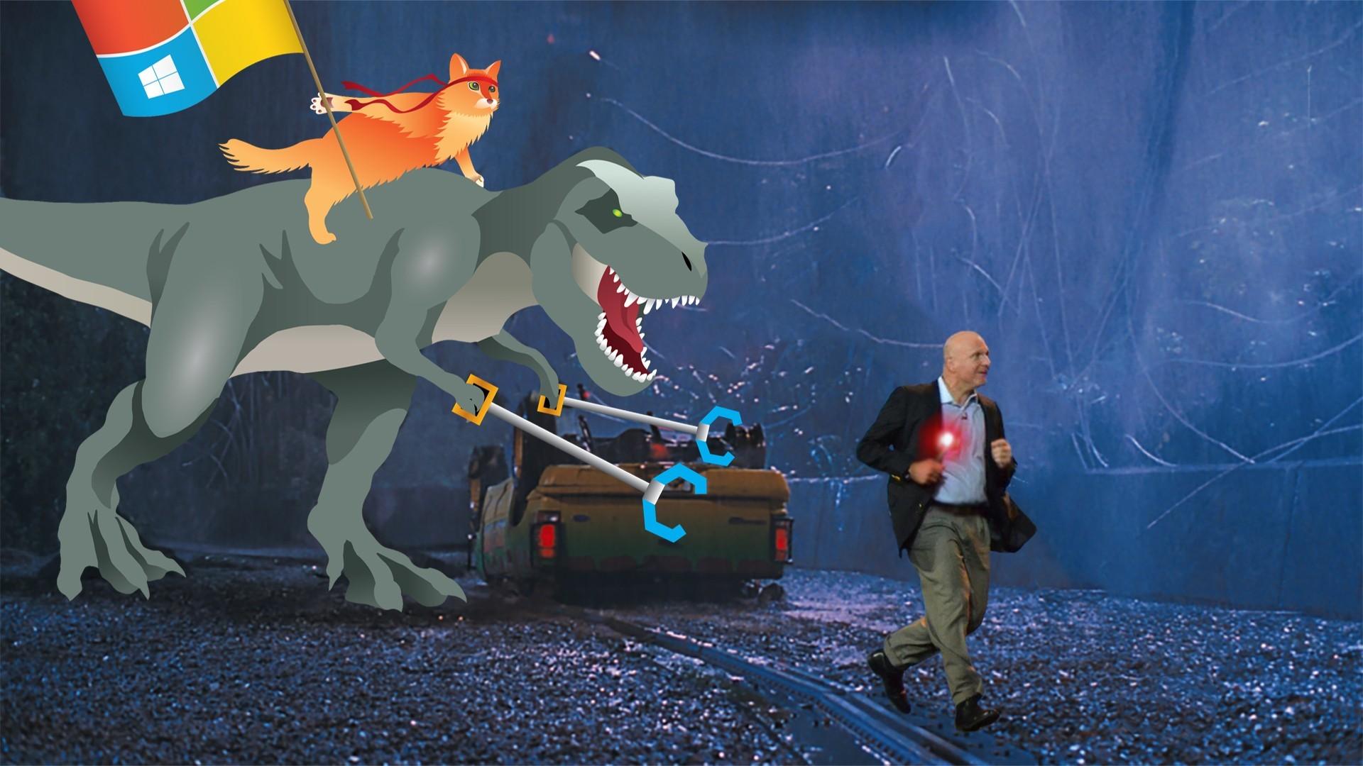 Res: 1920x1080, Ballmer running away from T-Rex