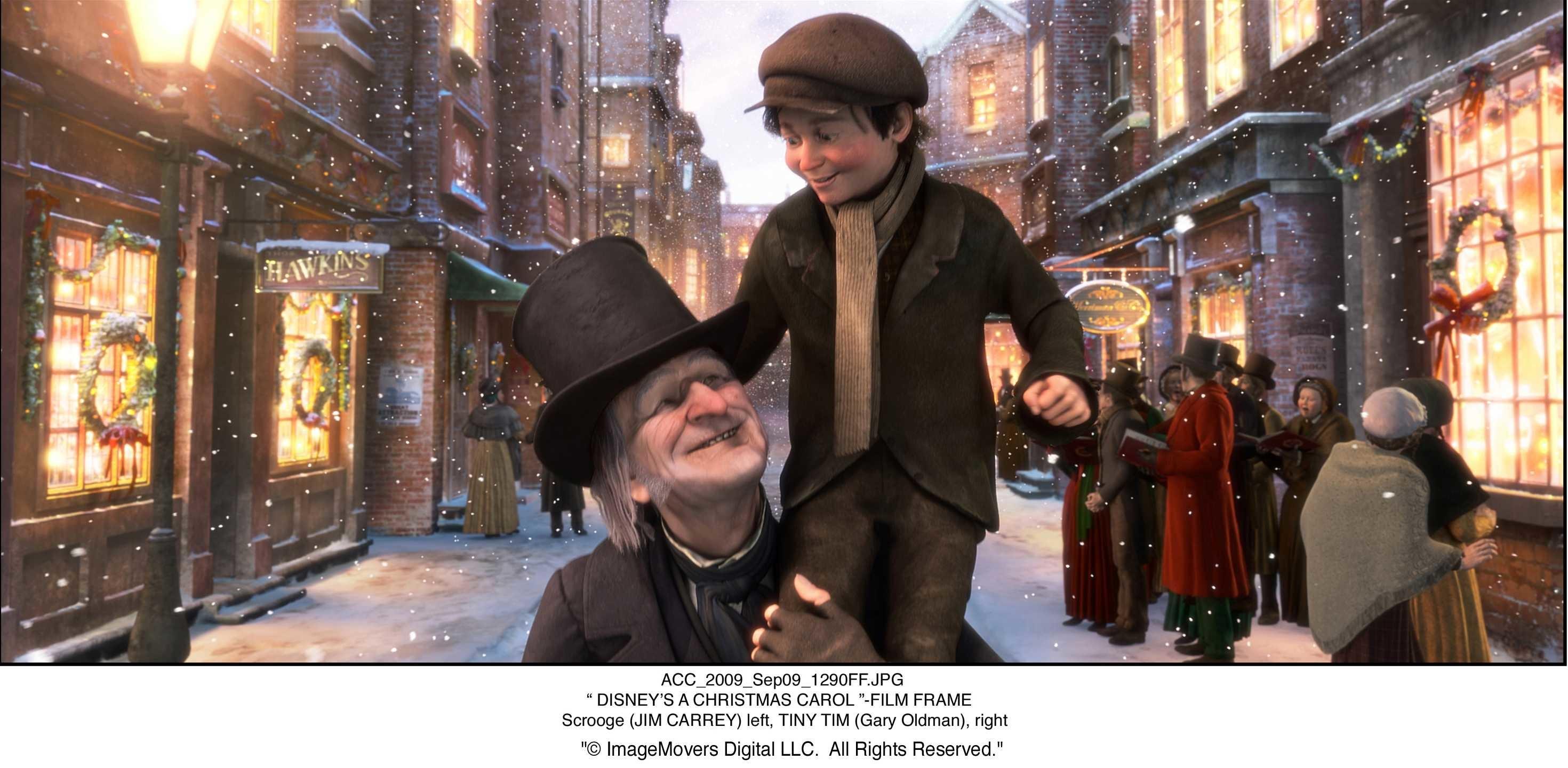 Res: 2940x1440, Ebenezer Scrooge (Jim Carrey) and Tiny Tim (Gary Oldman) stars in DISNEY'S