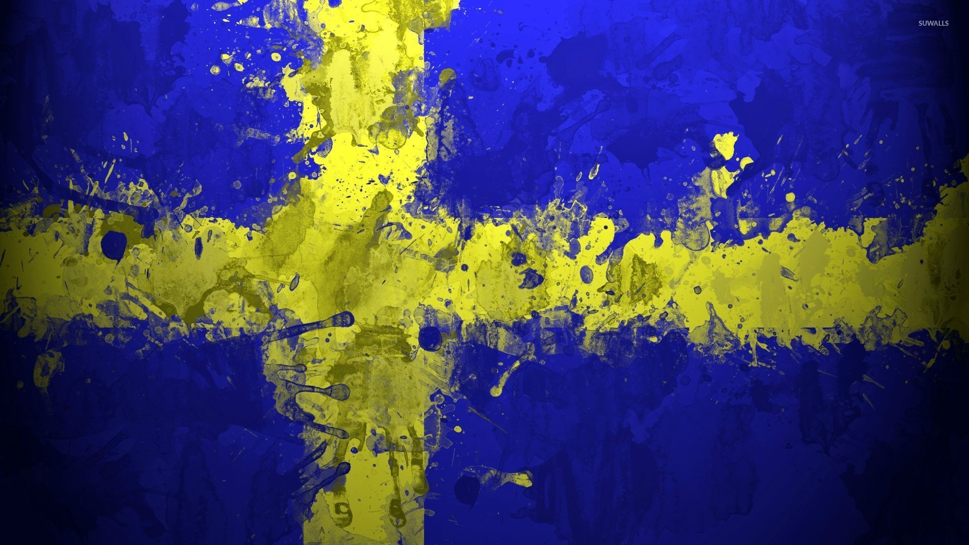 Res: 1920x1080, Paint drops on the flag of Sweden wallpaper  jpg