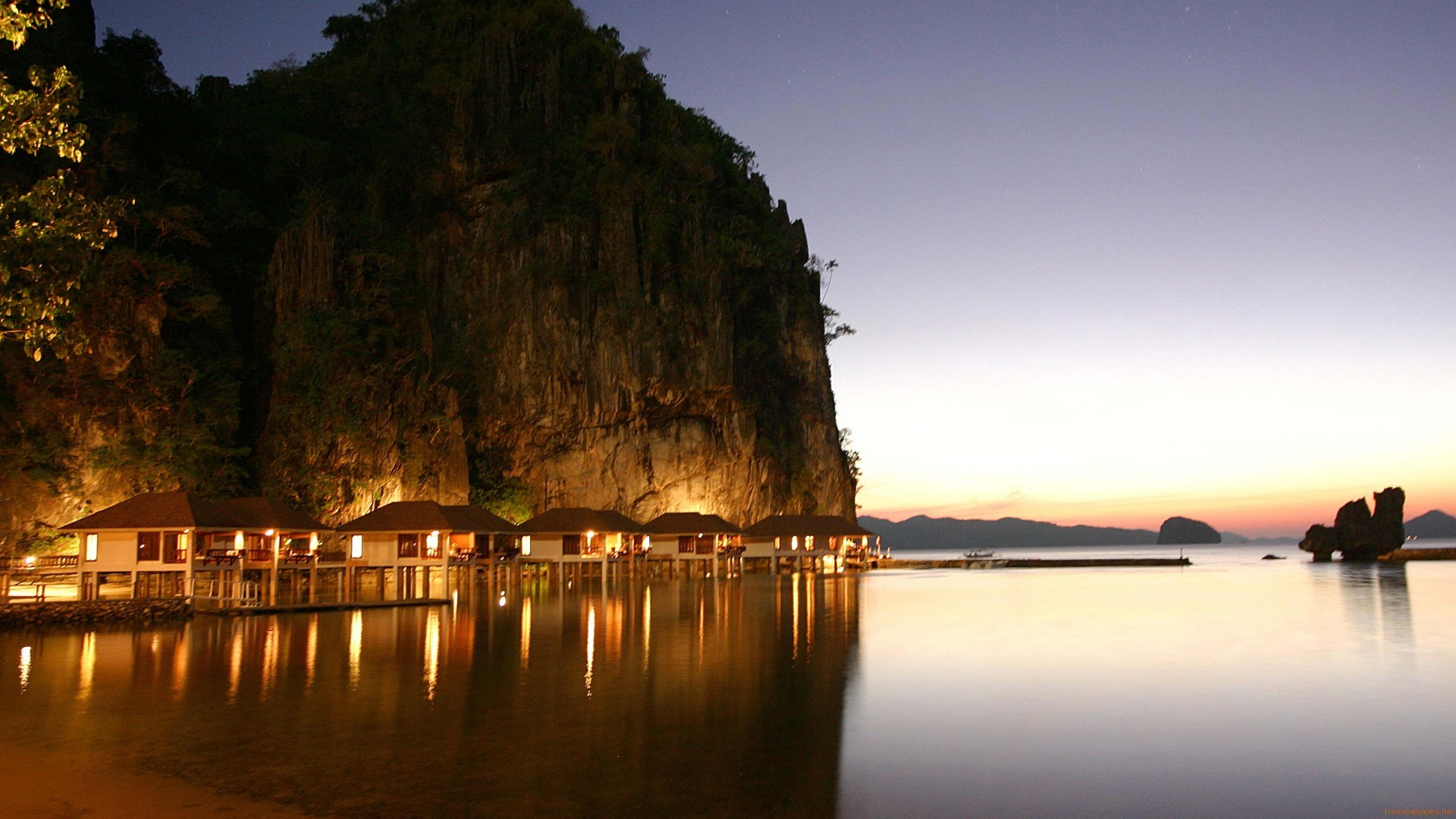 Res: 1920x1080, El Nido Travel Resort At Night Philippines wallpaper