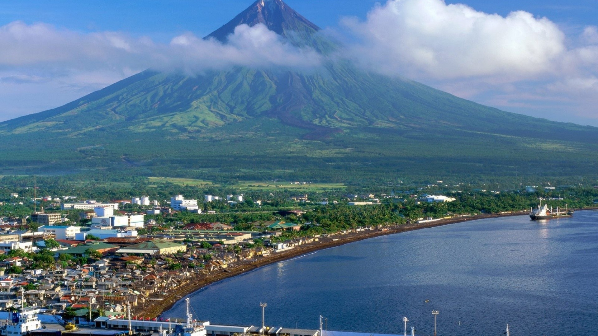 Res: 1920x1080,  Philippines Mayon Volcano desktop PC and Mac wallpaper