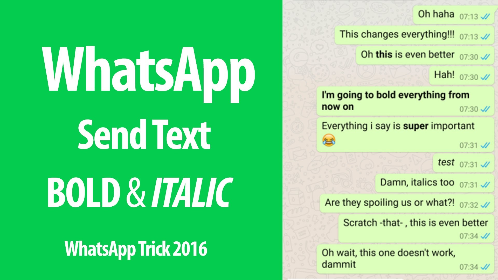 Res: 1920x1080, WhatsApp Tricks : How to Send Bold & Italic Text Message in WhatsApp  Messenger - YouTube