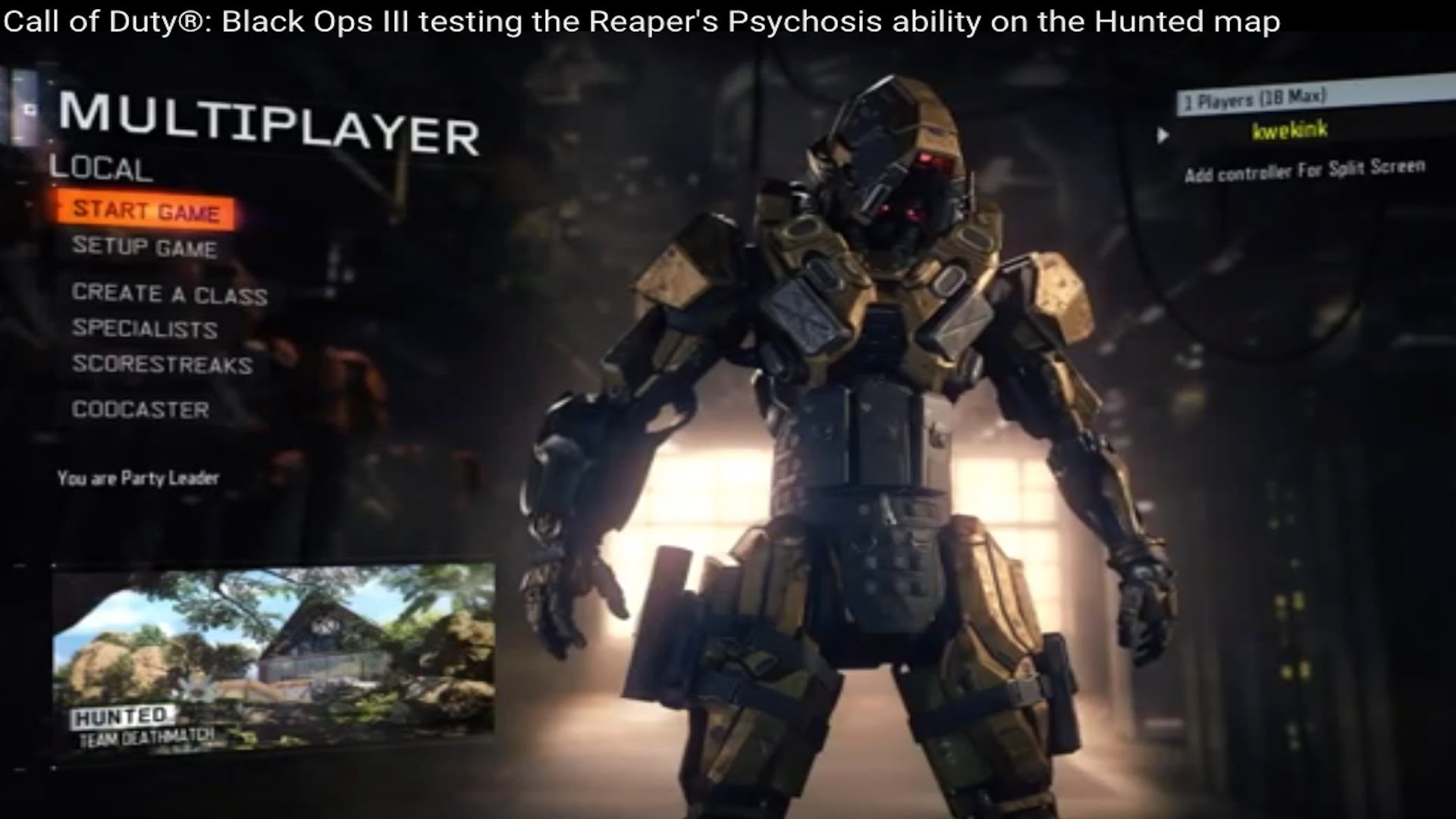 Res: 1920x1080, Call of Duty®: Black Ops III testing the Reaper's Psychosis ability on the  Hunted map