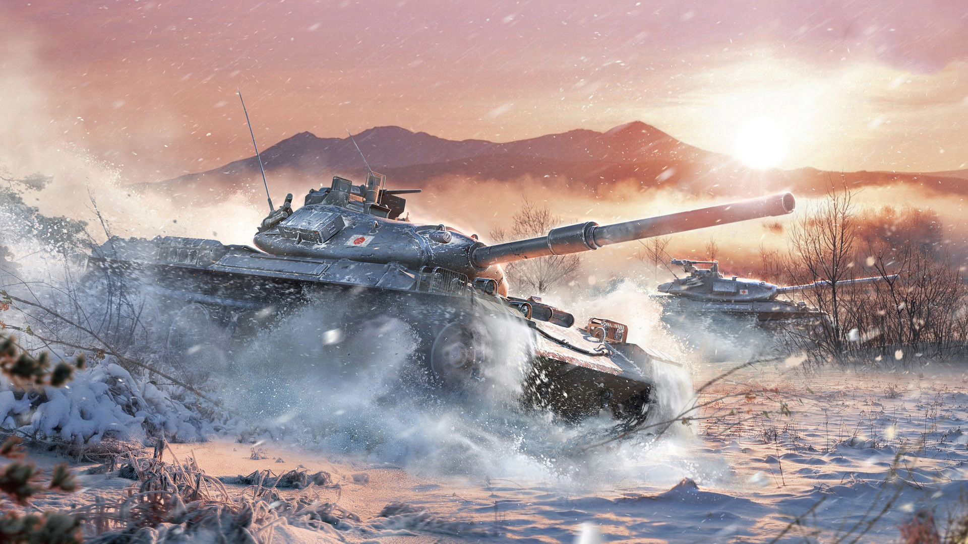 Res: 1920x1080, Wallpaper world of tanks japan tank art winter snowfall