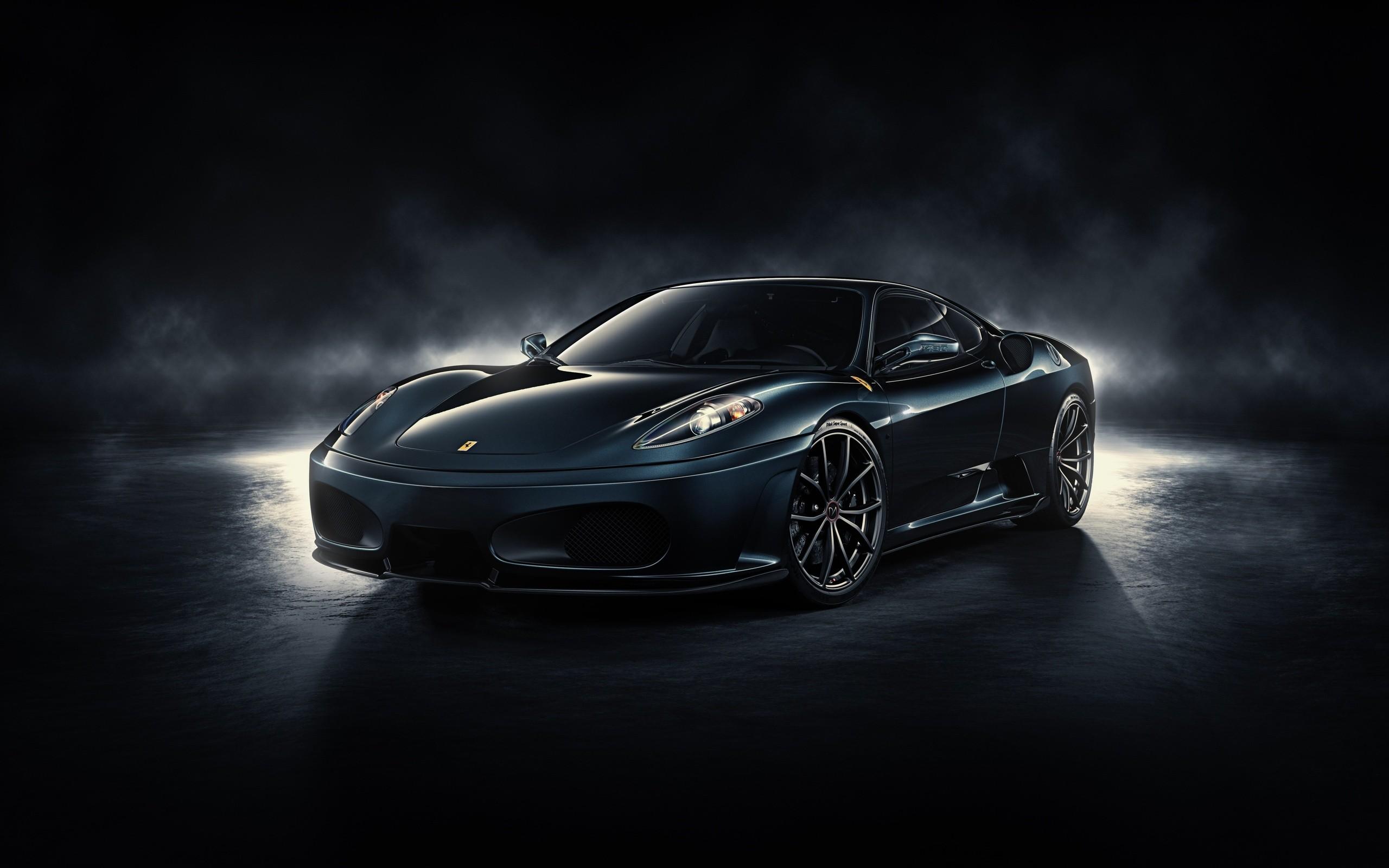 Res: 2560x1600, Download Black Ferrari with Dark Background 4k UHD Car Wallpaper