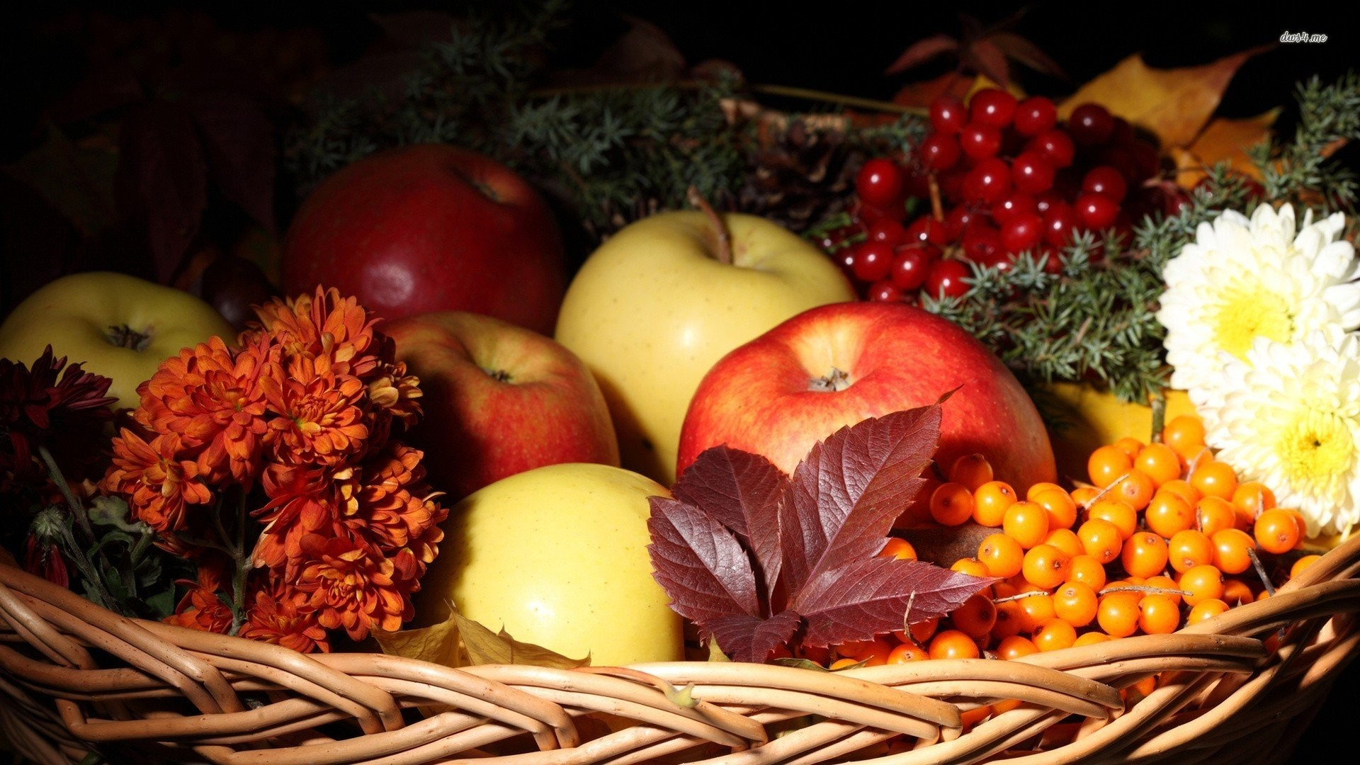 Res: 1920x1080, autumn fruit basket