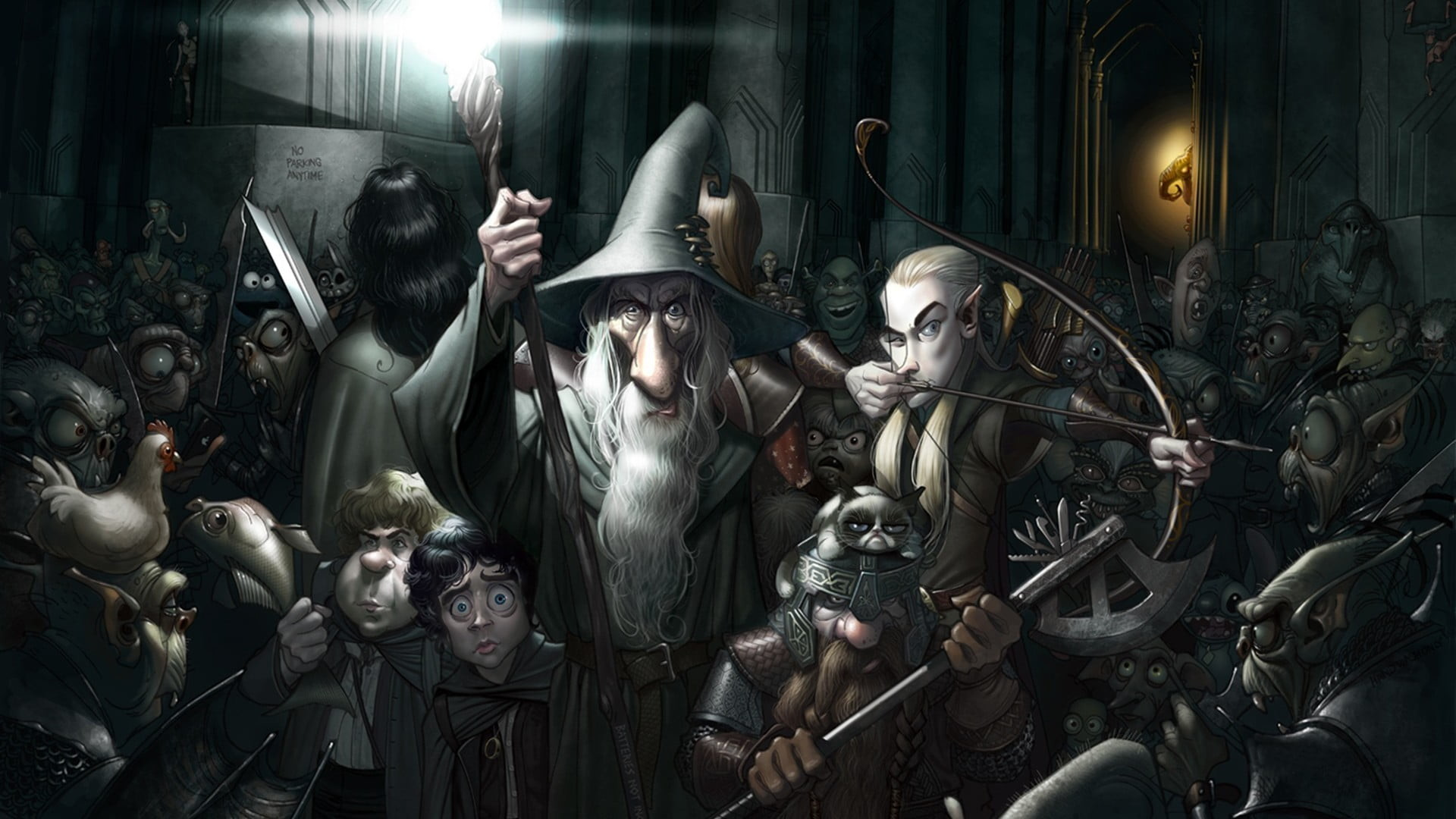 Res: 1920x1080, The Lord of the Rings, Gandalf, Shrek, Gremlins HD wallpaper