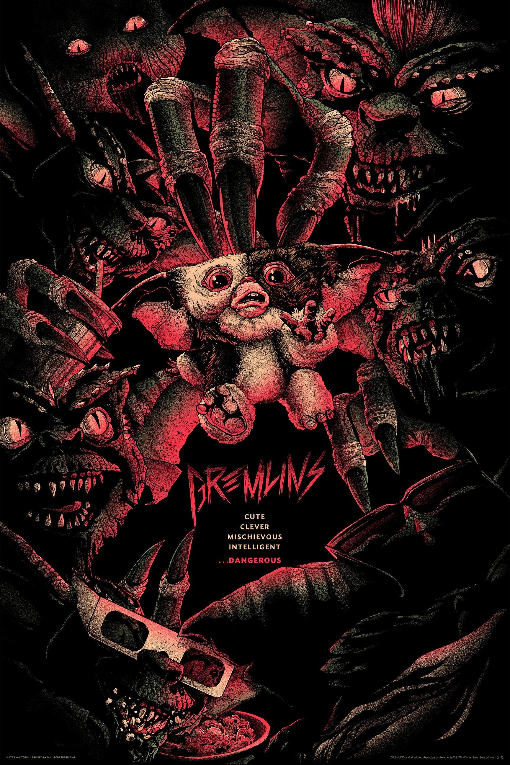 """Res: 1728x2592, Gremlins by Matt Ryan Tobin. 24""""x36"""" screen print. Hand numbered. Edition  of 275. Printed by D&L Screenprinting. Expected to ship January 2017. $45"""