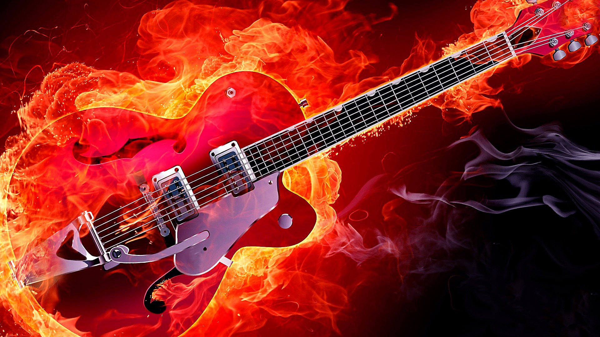 Res: 1920x1080, Rockabilly Electric Guitar On Fire Wallpaper | Wallpaper Studio 10 | Tens  of thousands HD and UltraHD wallpapers for Android, Windows and Xbox