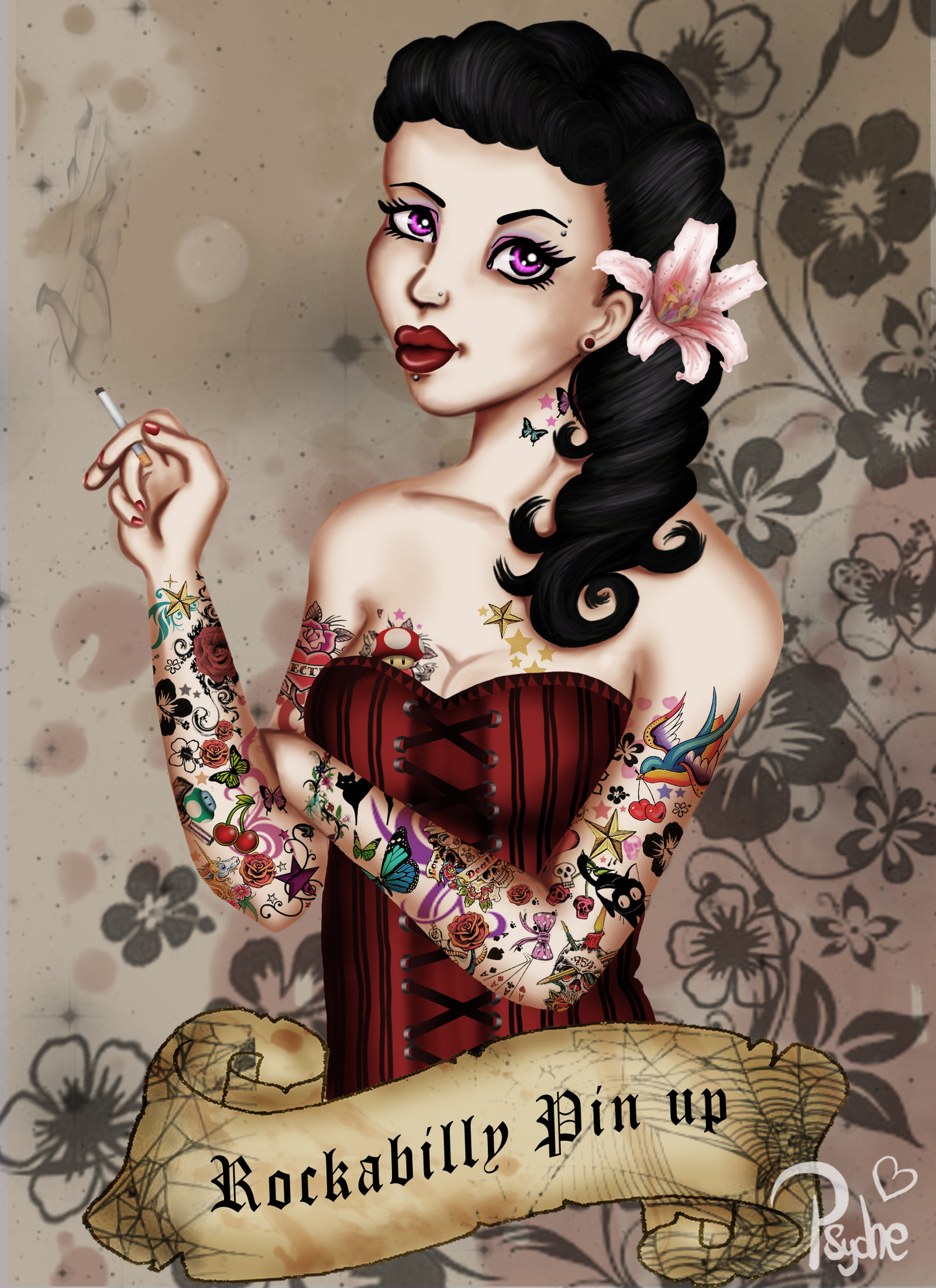 Res: 1600x2200, ... Rockabilly pin up 2 by Lady-Psyche