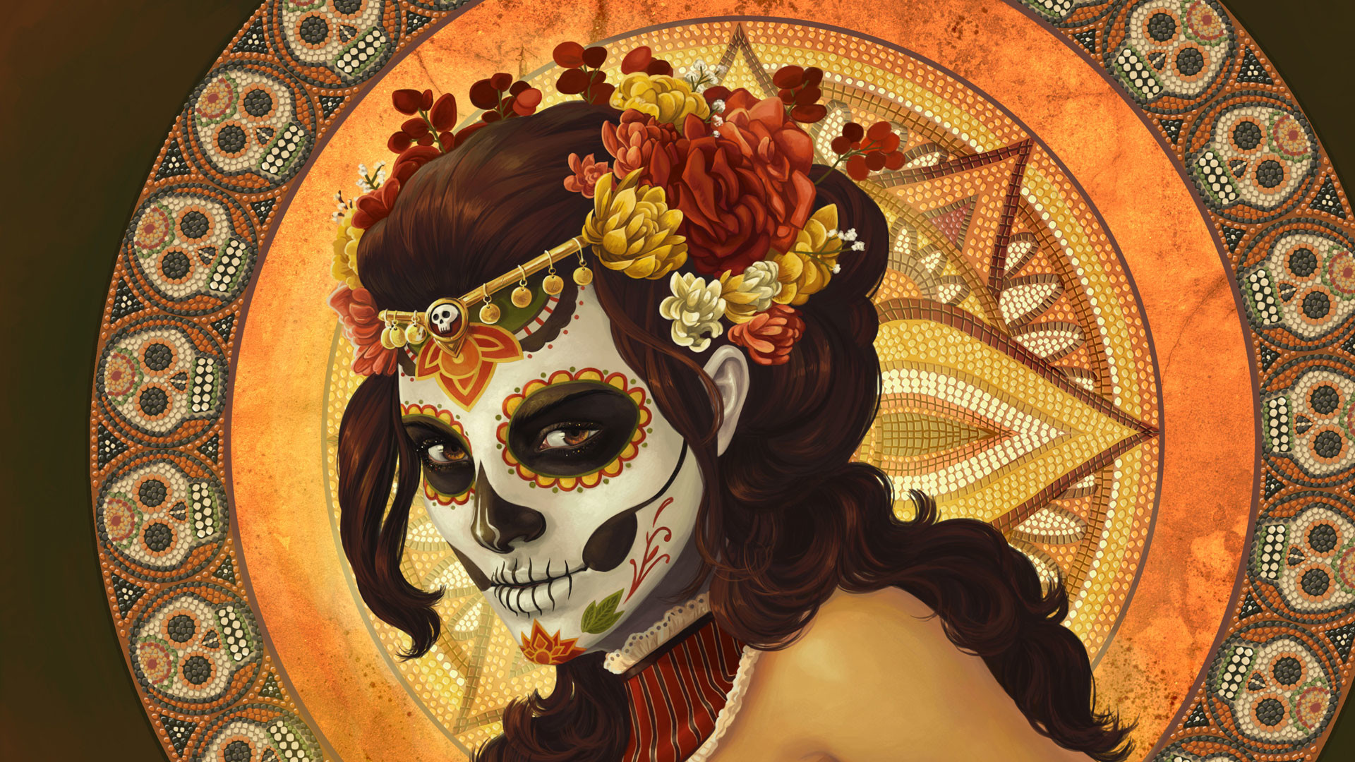 Res: 1920x1080, Day-of-the-Dead-Dia-de-los-muertos-Rockabilly-Pin-Up -girl-pink-hair-Lowbrow-Tattoo-art-PRINT-pink-su-wallpaper-wpt7203835