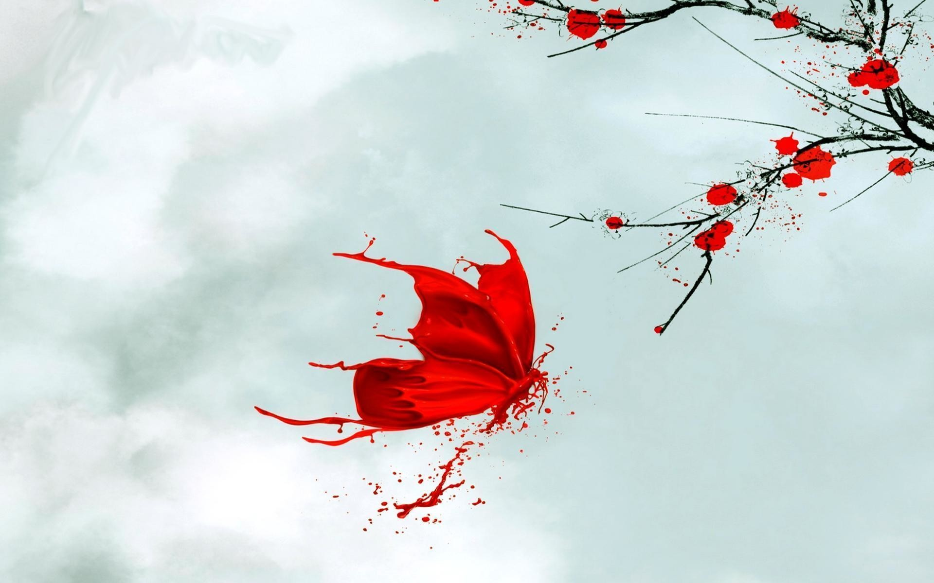 Res: 1920x1200, #18983 red butterfly wallpaper