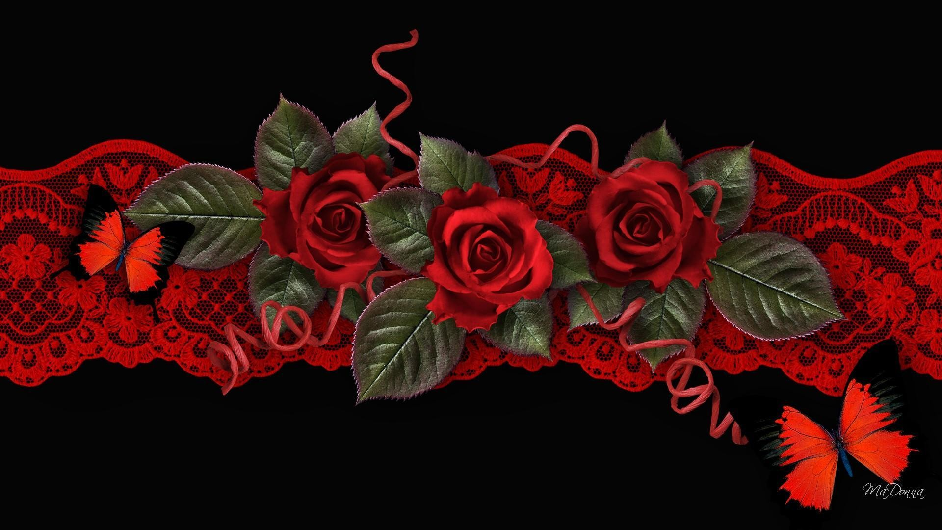 Res: 1920x1080, Artistic - Rose Red Flower Artistic Red Butterfly Wallpaper