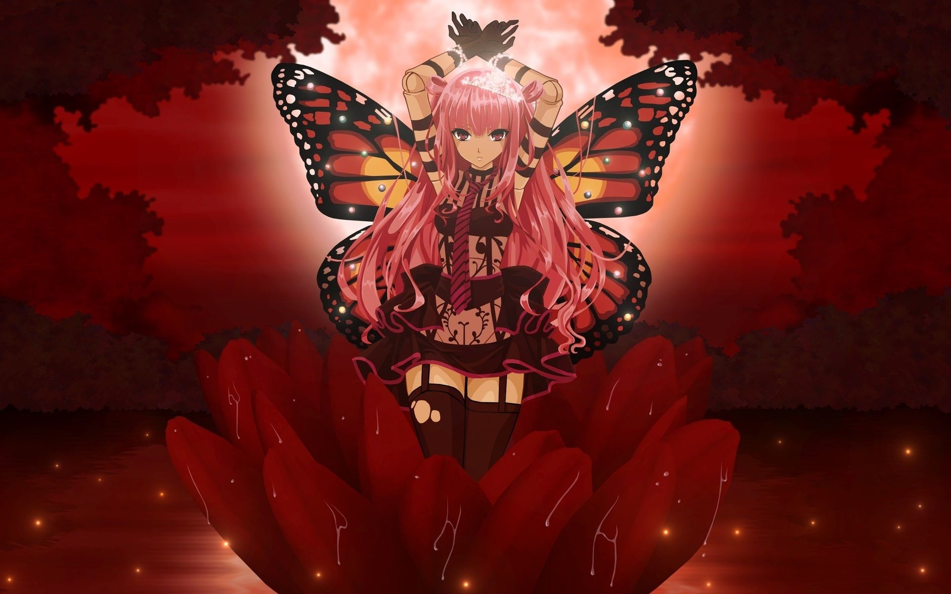 Res: 1920x1200, Red Butterfly Wallpaper   Gloomy Butterfly, anime, butterfly, flower, girl,  red…