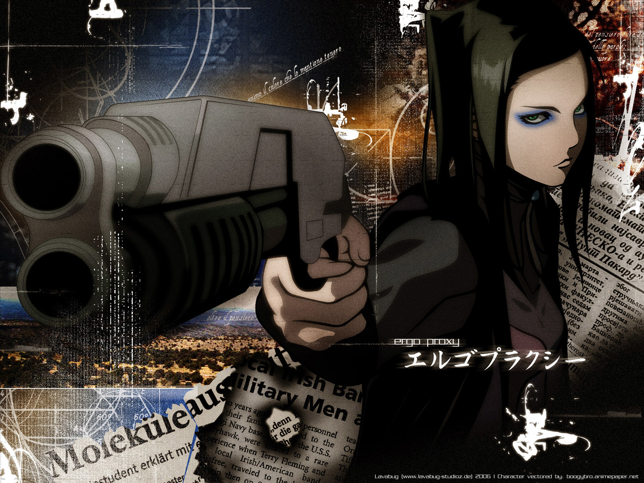Res: 2048x1536, Tags: Anime, Ergo Proxy, Re-l Mayer, Aiming At Camera,